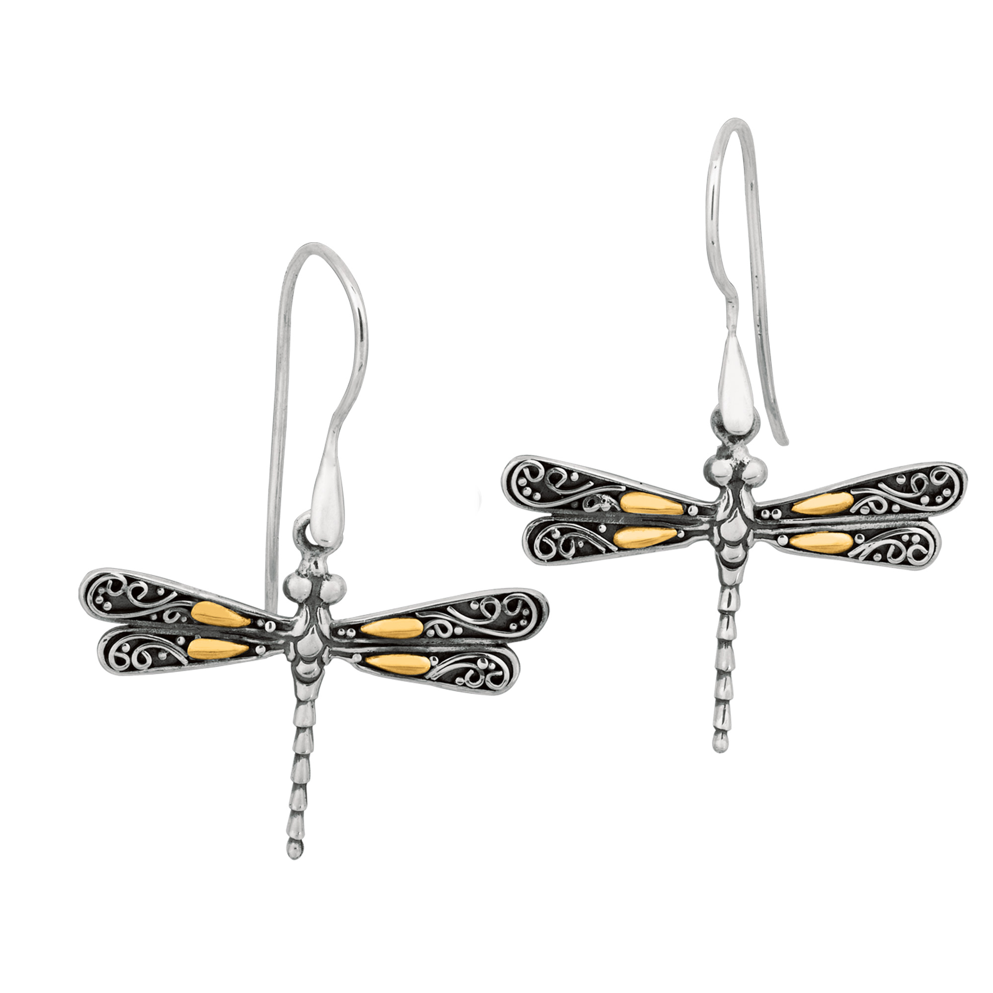 18K Gold And Sterling Silver Dragonfly French Wire Drop Earrings Introduced in 2005, the line of sterling silver, gold and precious stone jewelry has rapidly become an important presentation in jewelry stores across the country. Literally born into the jewelry world, designer Phillip Gabriel Maroof realized his artistic talent and design sensibility at an early age. His skills and vision were intensified when he was a student in Florence and studied the great Renaissance masters. From that point on, his emotions and sentimental attachment led him to create jewelry inspired by his travels. Today, jewelry is not only rich in its heritage, but beautiful and wearable by everyone. Every piece tells a story, and comes from the heart.