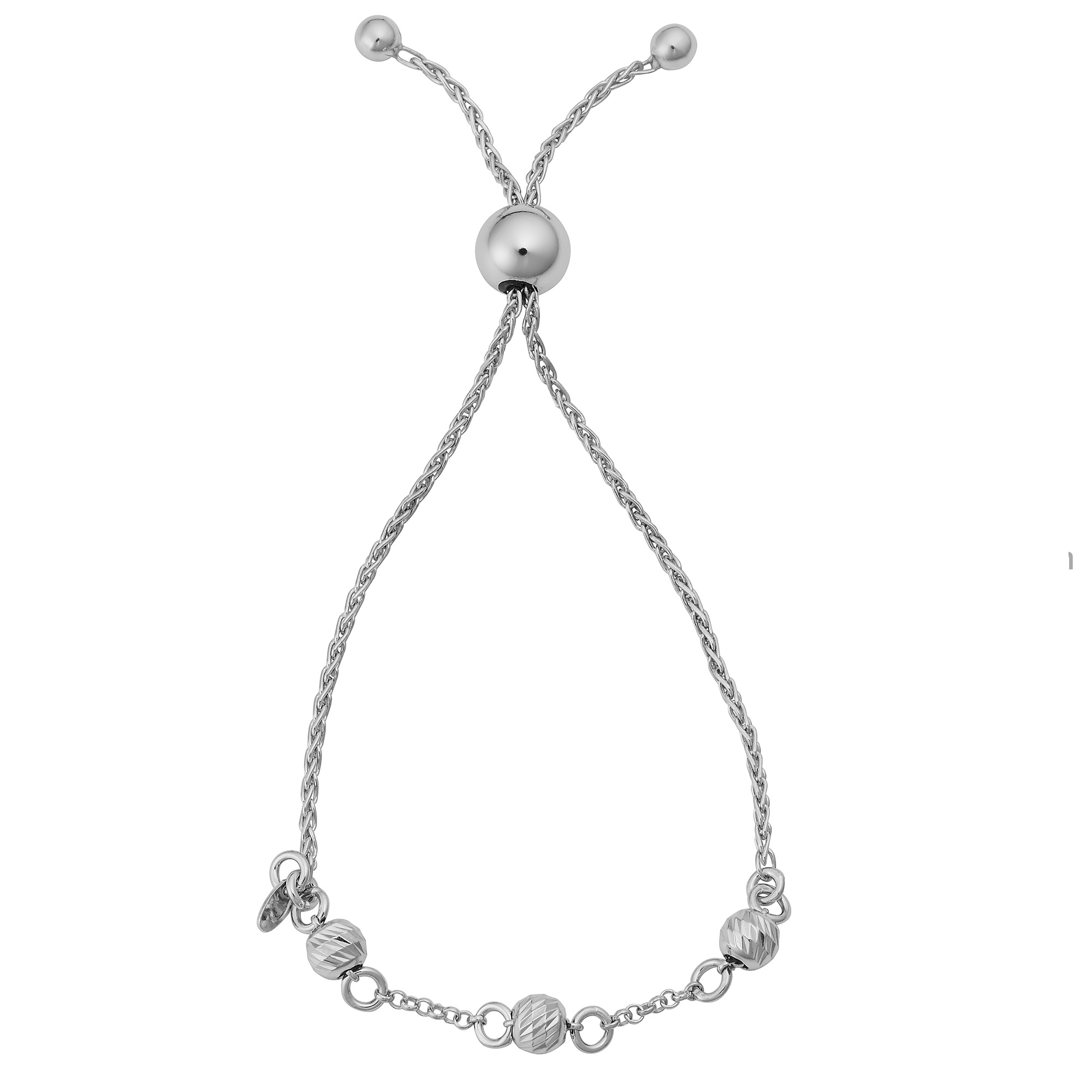 925 Sterling Silver Rhodium Finish Diamond Cut Popcorn Adjustable Slider Chain