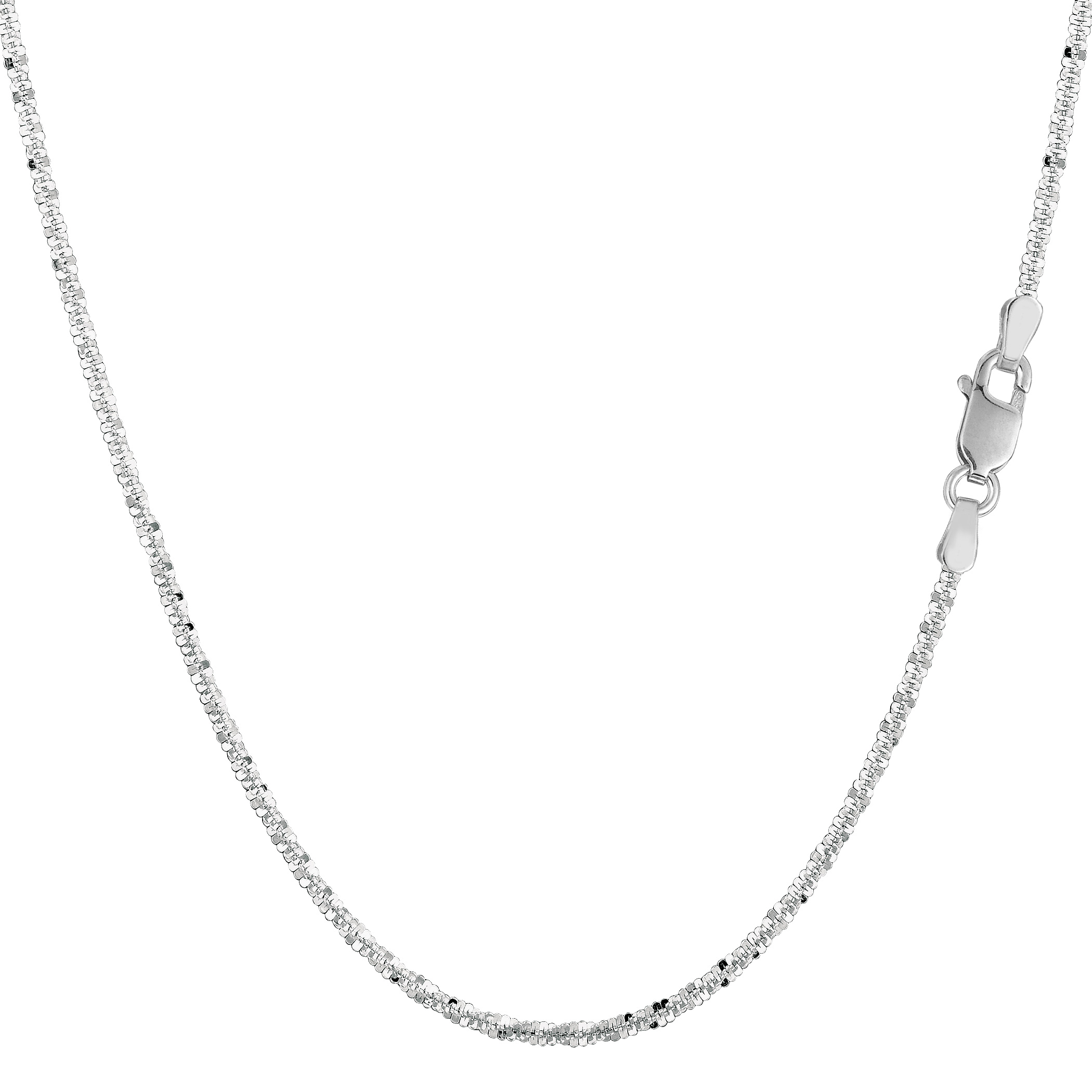 14k White Gold Sparkle Chain Bracelet, 1.5mm, 7″