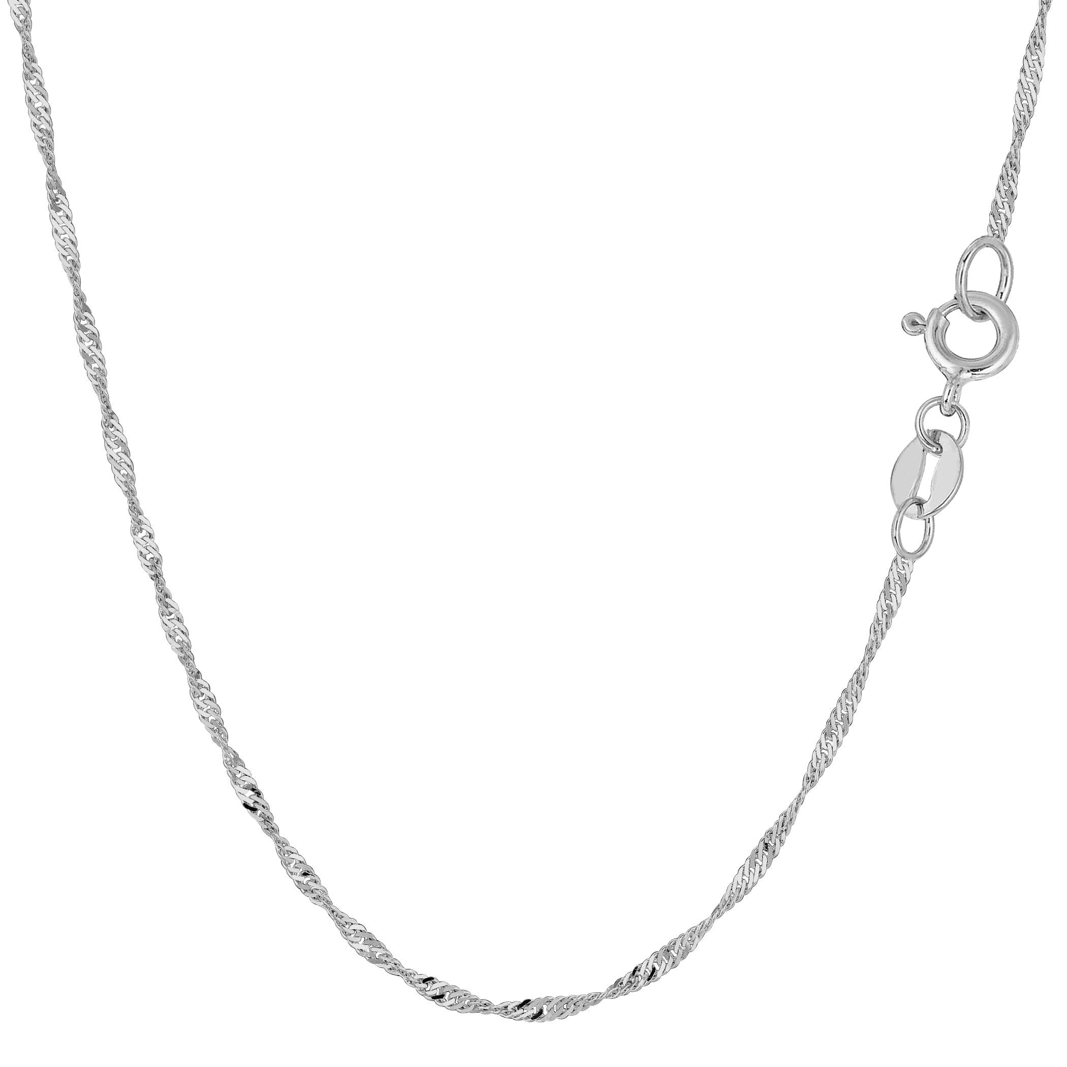 14k White Gold Singapore Chain Bracelet, 1.5mm, 10″