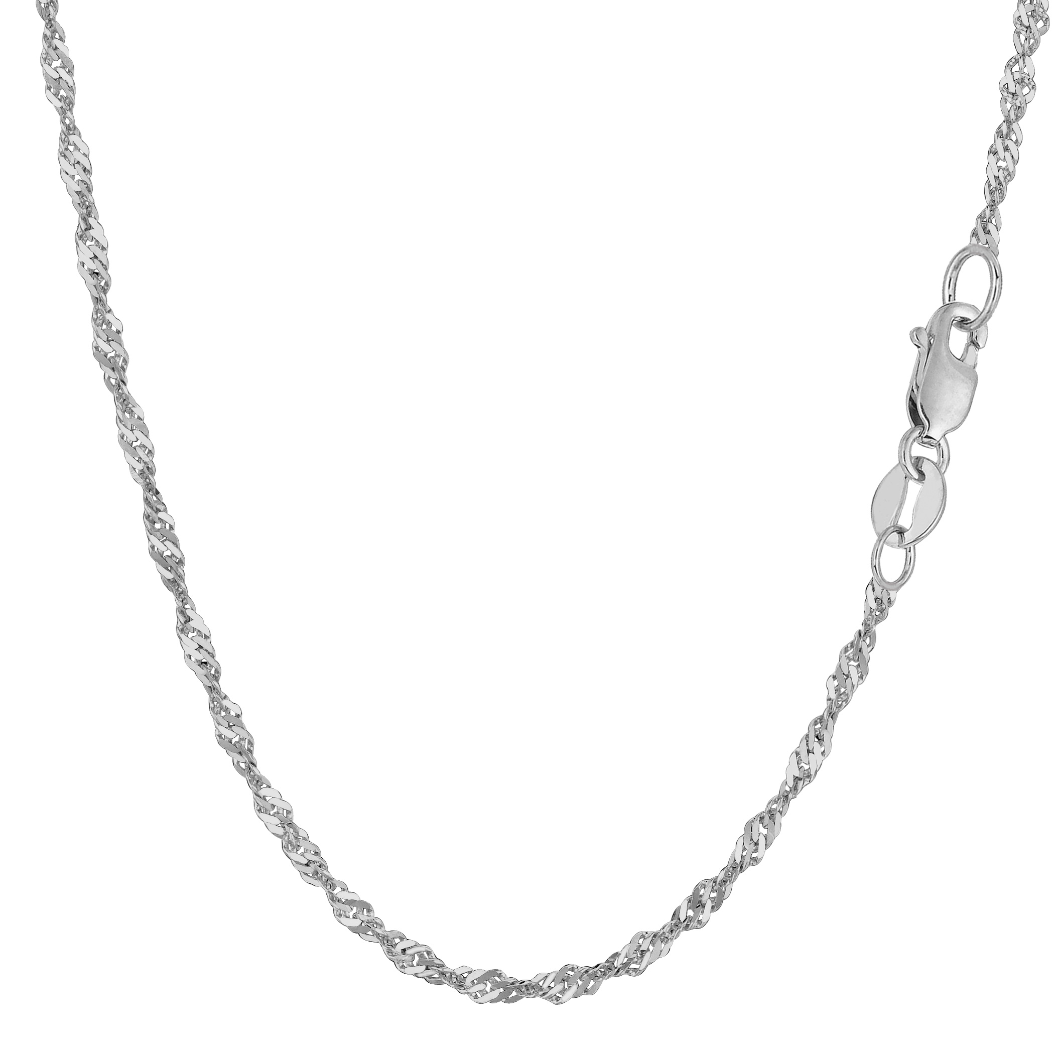 14k White Gold Singapore Chain Bracelet, 2.1mm, 7″
