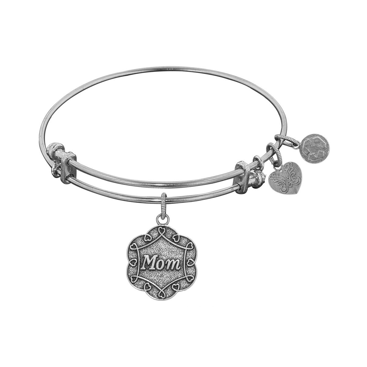 White Stipple Finish Brass Mom On 7 Leaf Flower Like Charm Angelica Bangle Bracelet, 7.25″