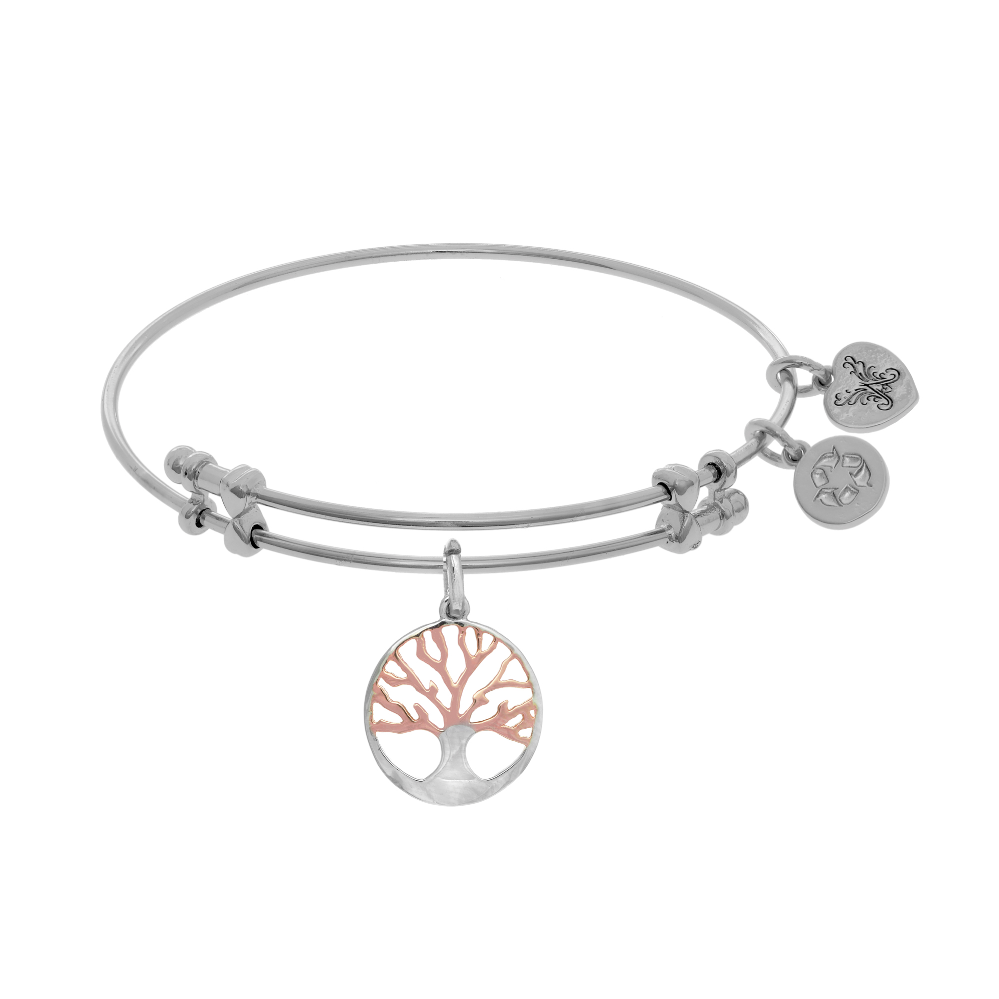 Pink And White Finish Tree Of Life Charm Expandable Bangle Bracelet, 7.25″