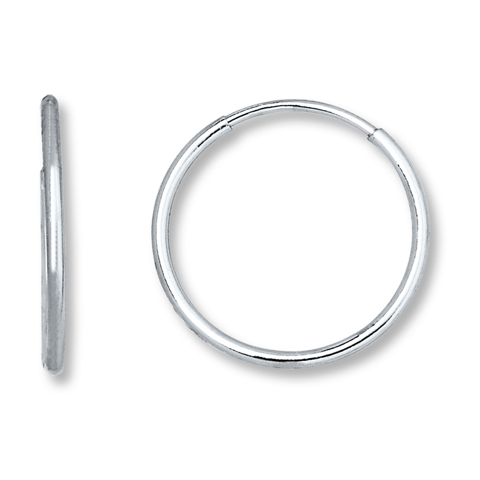14K White Gold Endless Round Hoop Earrings, 10mm Complete your jewelry collection with a gorgeous pair of 14K endless earrings. These earrings have a secure snap post clasp making them easy to wear and remove. Earrings come in a  gift box making them ready to be gifted.