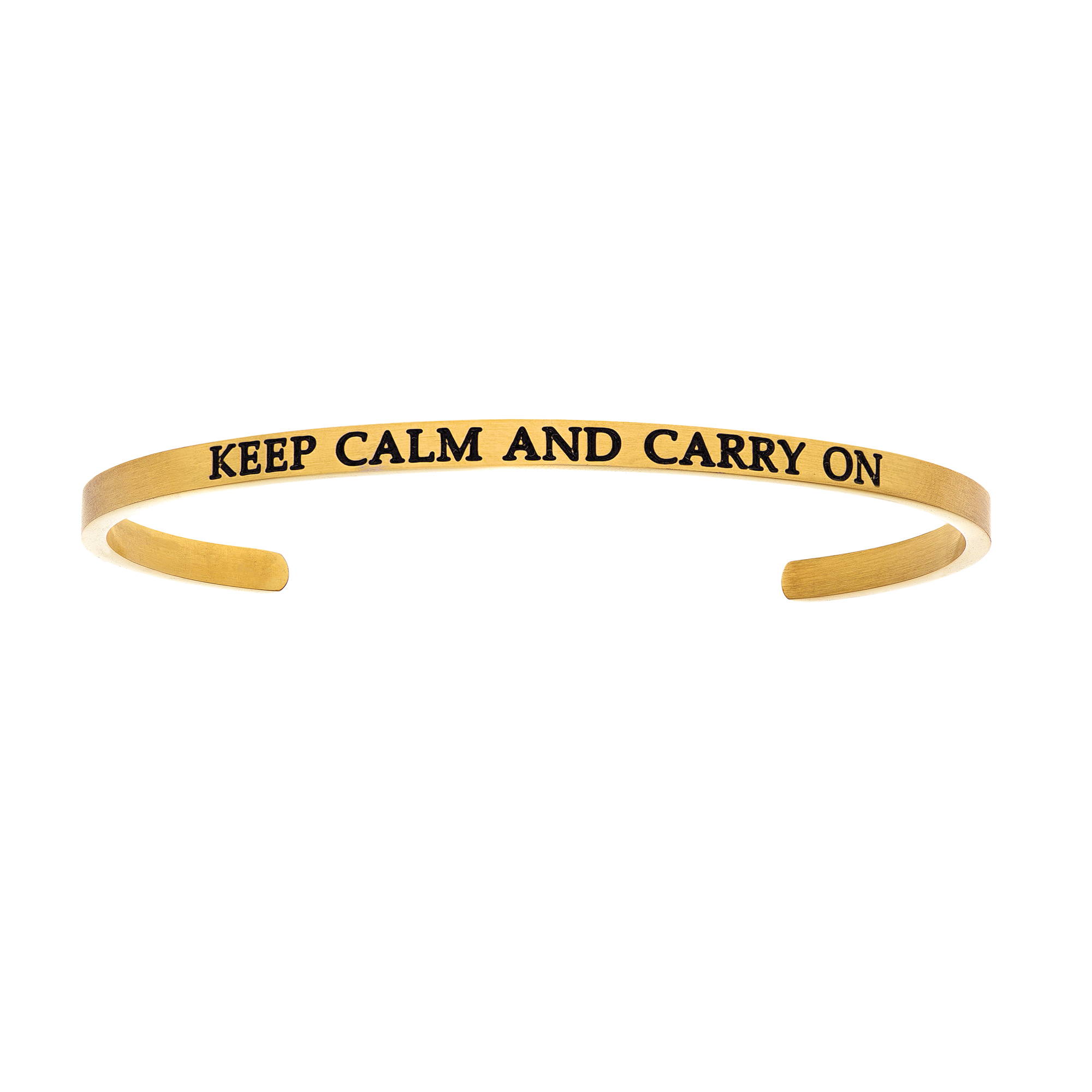 Intuitions Stainless Steel KEEP CALM AND CARRY ON Diamond Accent Cuff Bangle Bracelet, 7″