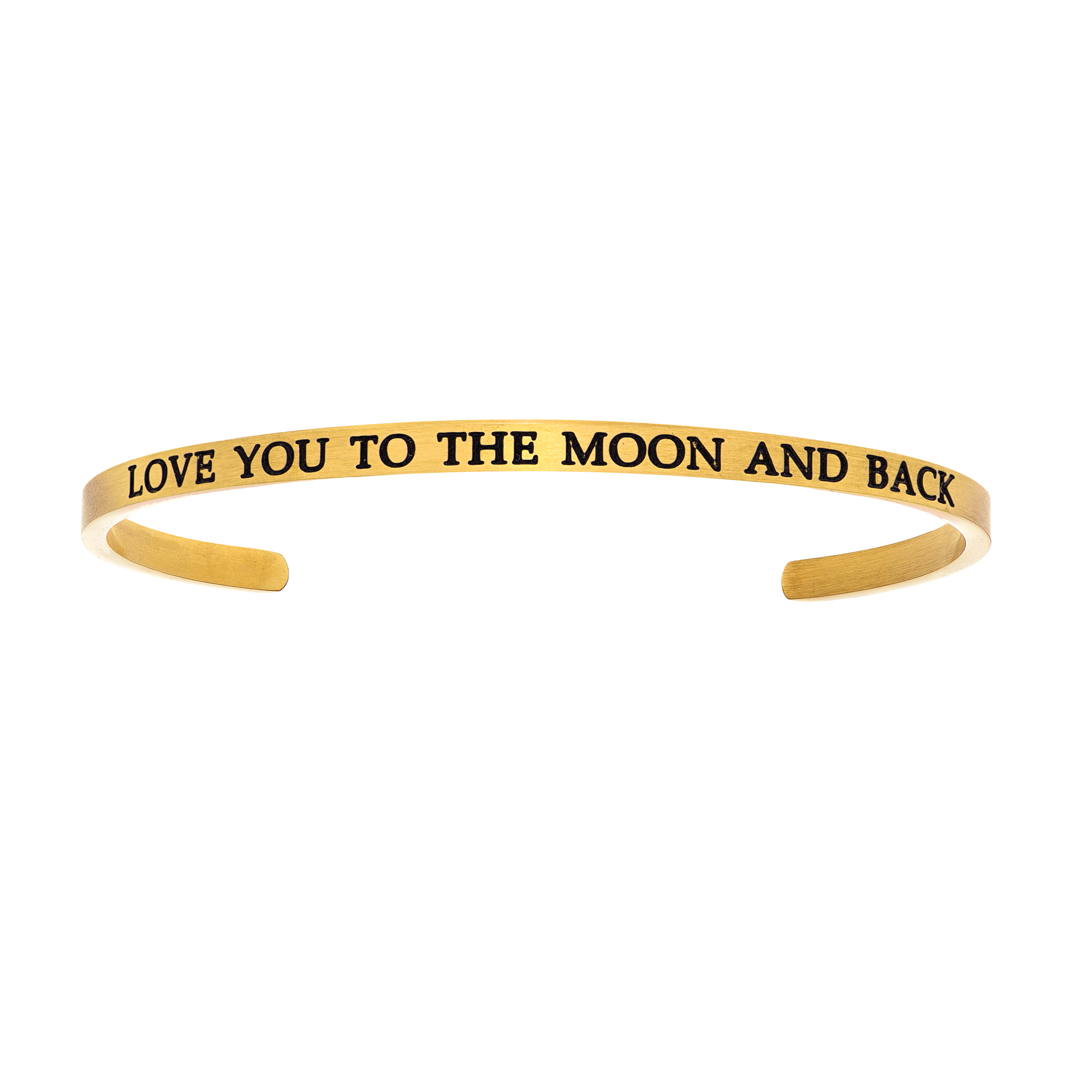 Intuitions Stainless Steel LOVE YOU TO THE MOON AND BACK Diamond Accent Cuff Bangle Bracelet, 7″