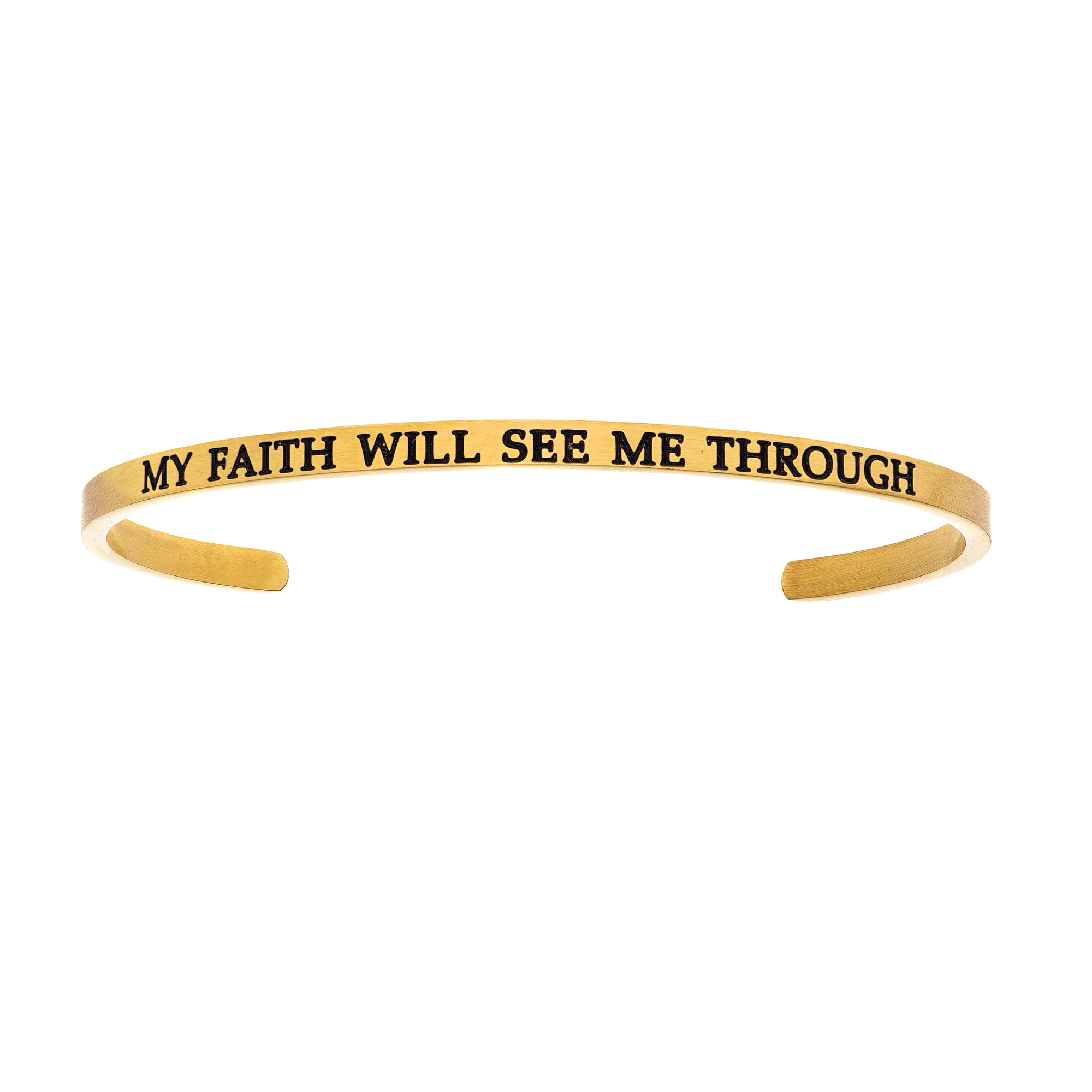 Intuitions Stainless Steel MY FAITH WILL SEE ME THROUGH Diamond Accent Cuff Bangle Bracelet, 7″