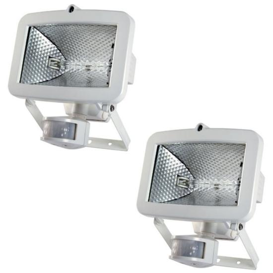 2x-Timeguard-Energy-Saving-PIR-Sensor-400W-Halogen-Wall-Floodlight-Black-White