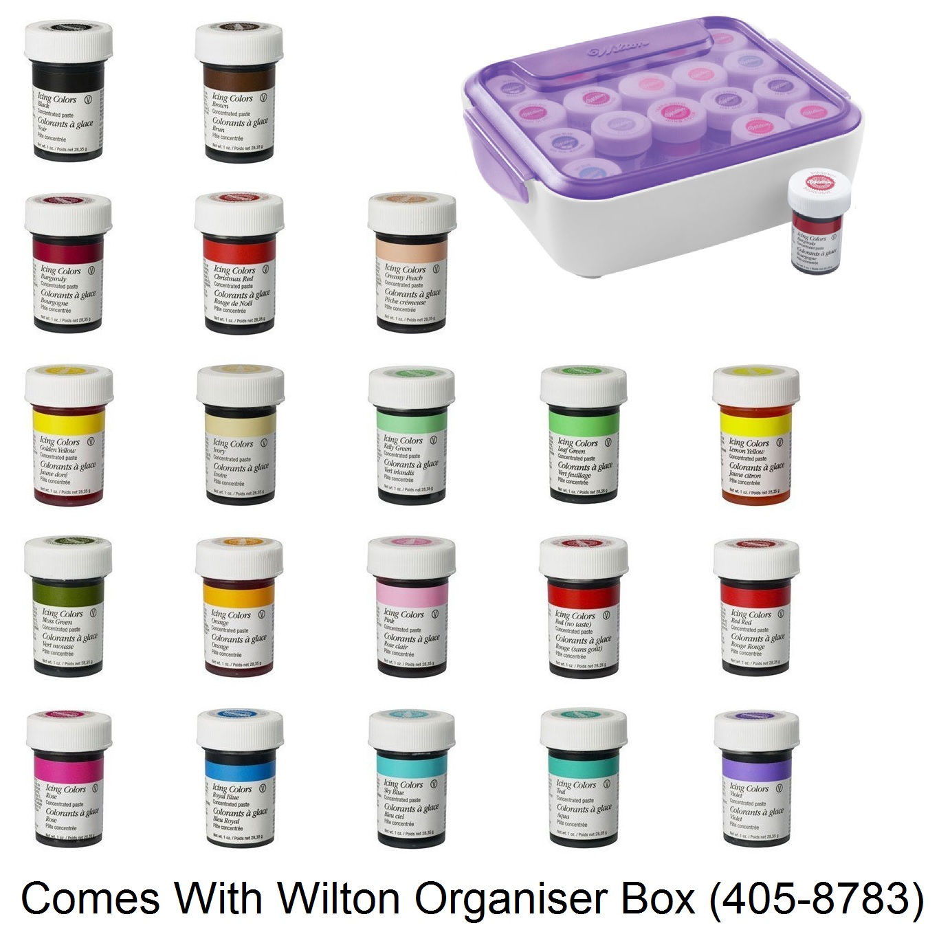 Wilton Full Set Of 20 Icing Colour Paste And Storage Box Gel Food ...