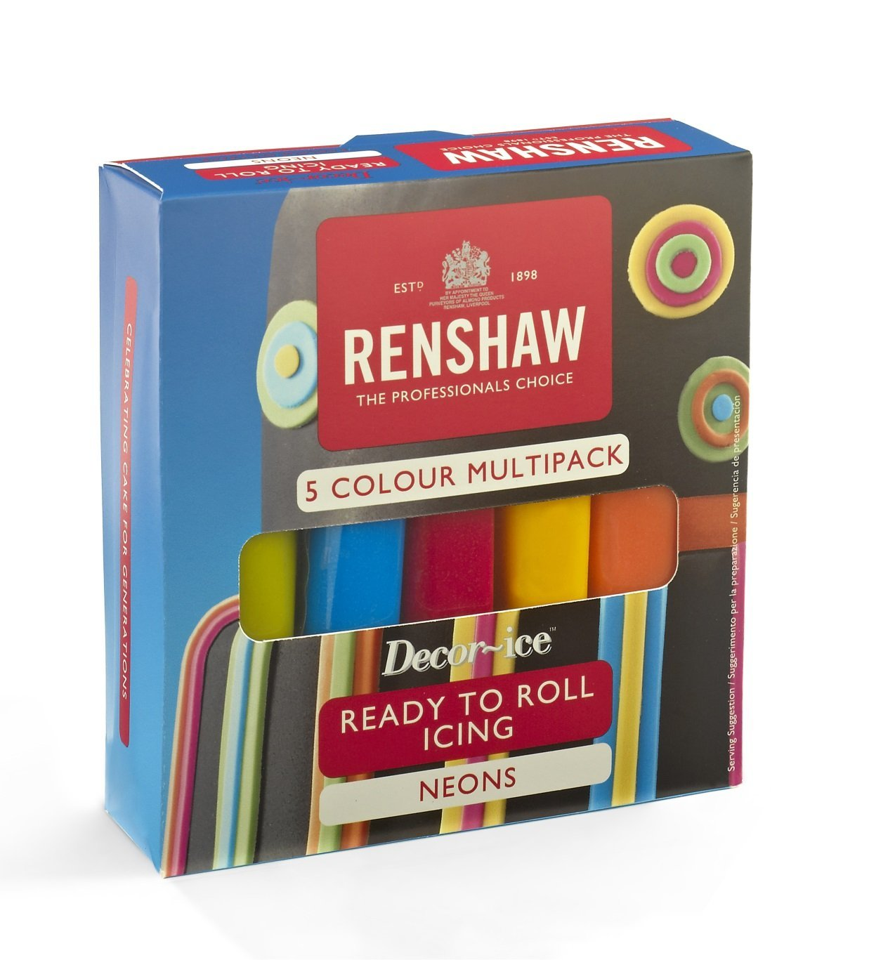 Renshaw Ready To Roll Cake Icing Multi 5x 100g Pack Colour ...
