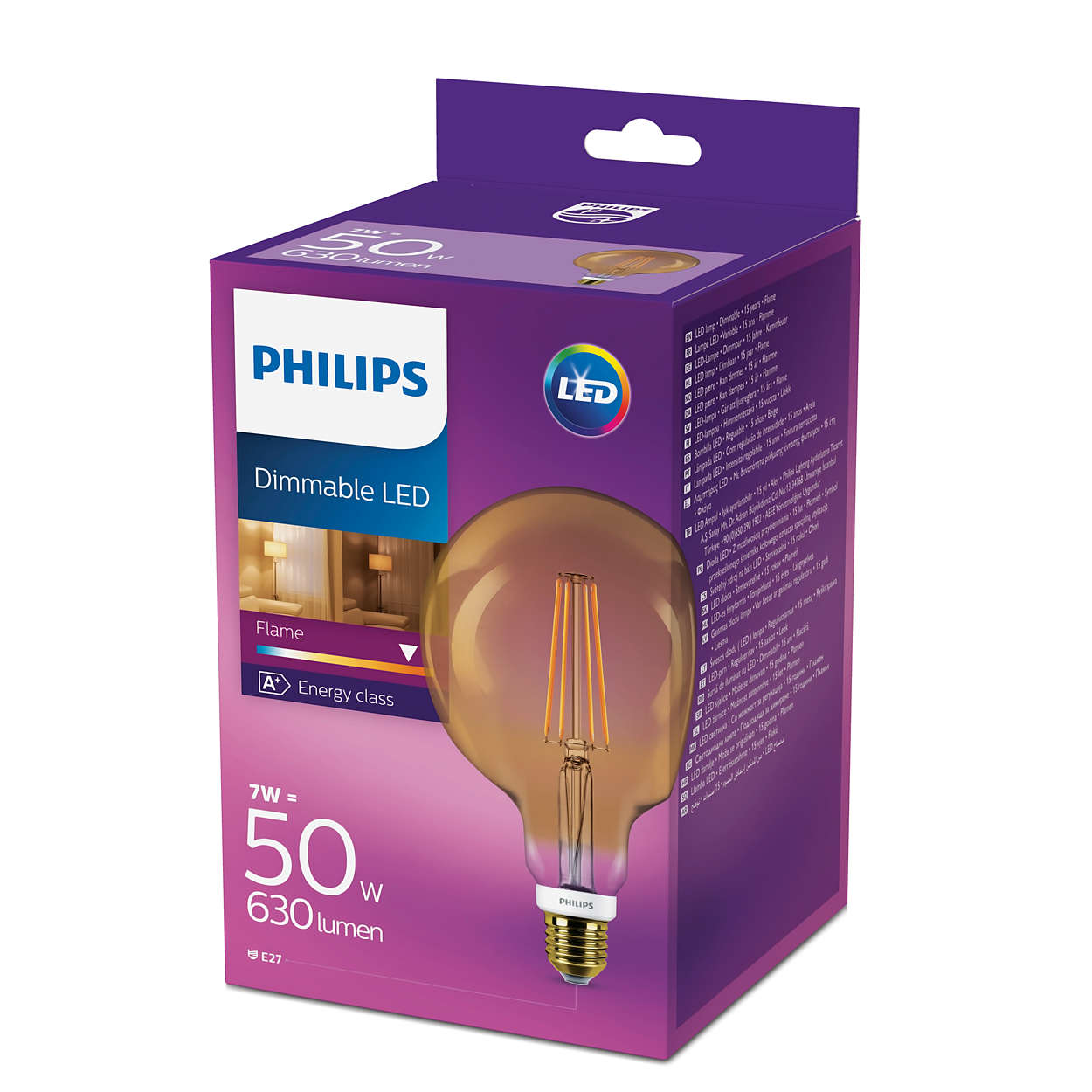 philips led 50w dimmable vintage globe filament e27 edison. Black Bedroom Furniture Sets. Home Design Ideas