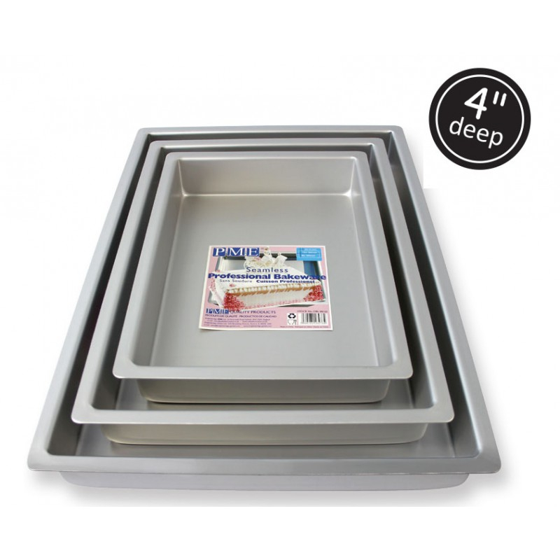 Pme Oblong Rectangle 4 Inch Deep Anodised Aluminium Cake