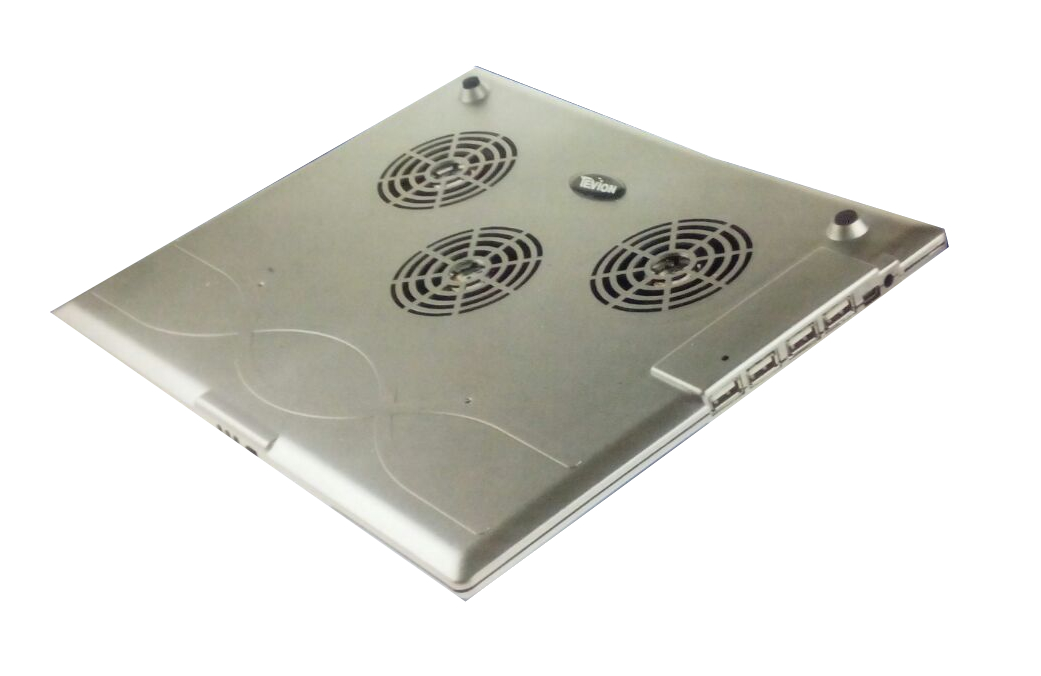 Silver Tevion Computing Laptop Notebook Cooling Pad With 4 Port USB Hub