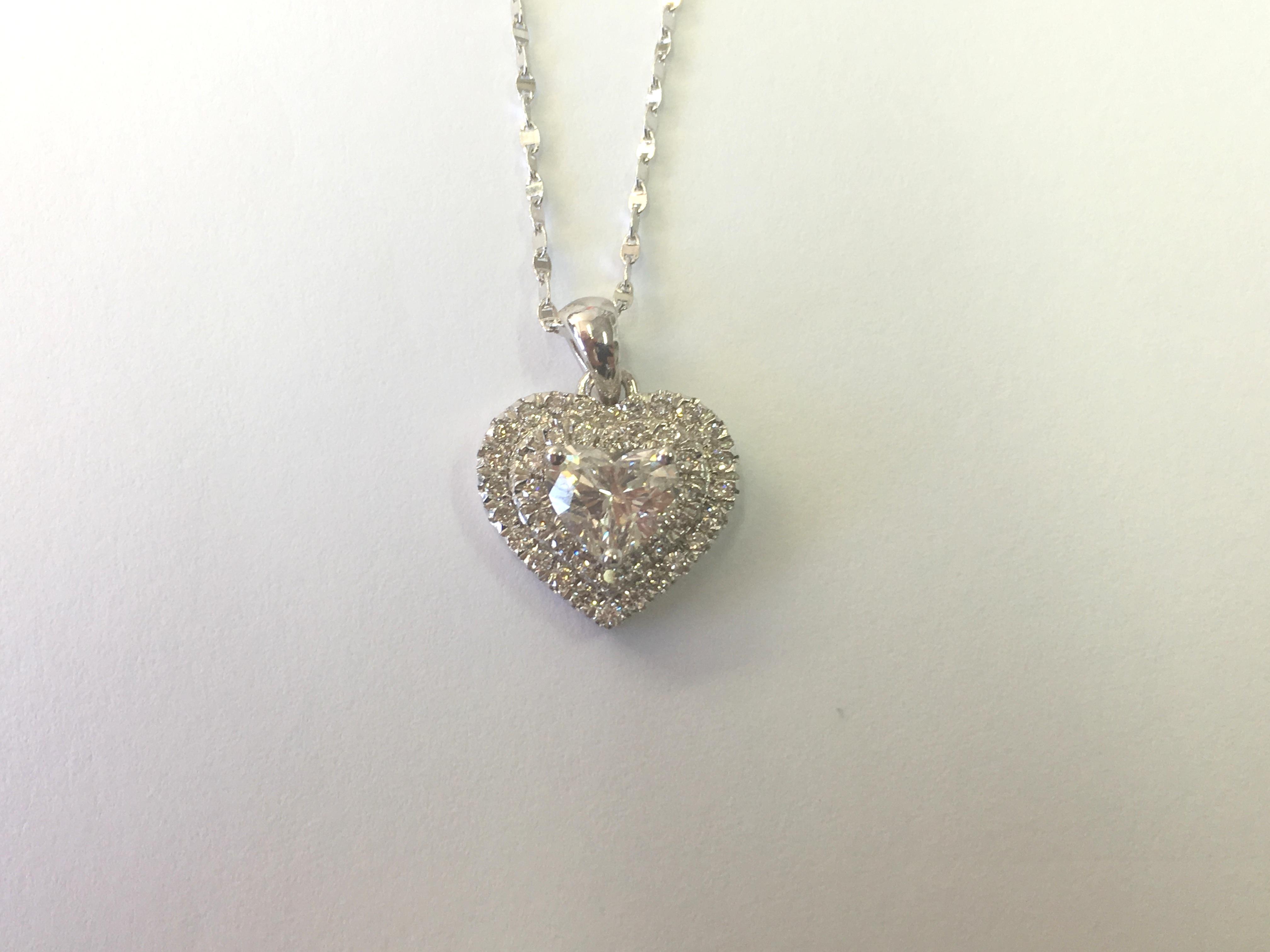HEART CUT DIAMOND NECKLACE PENDANT APPRAISED 14K WHITE GOLD WOMEN