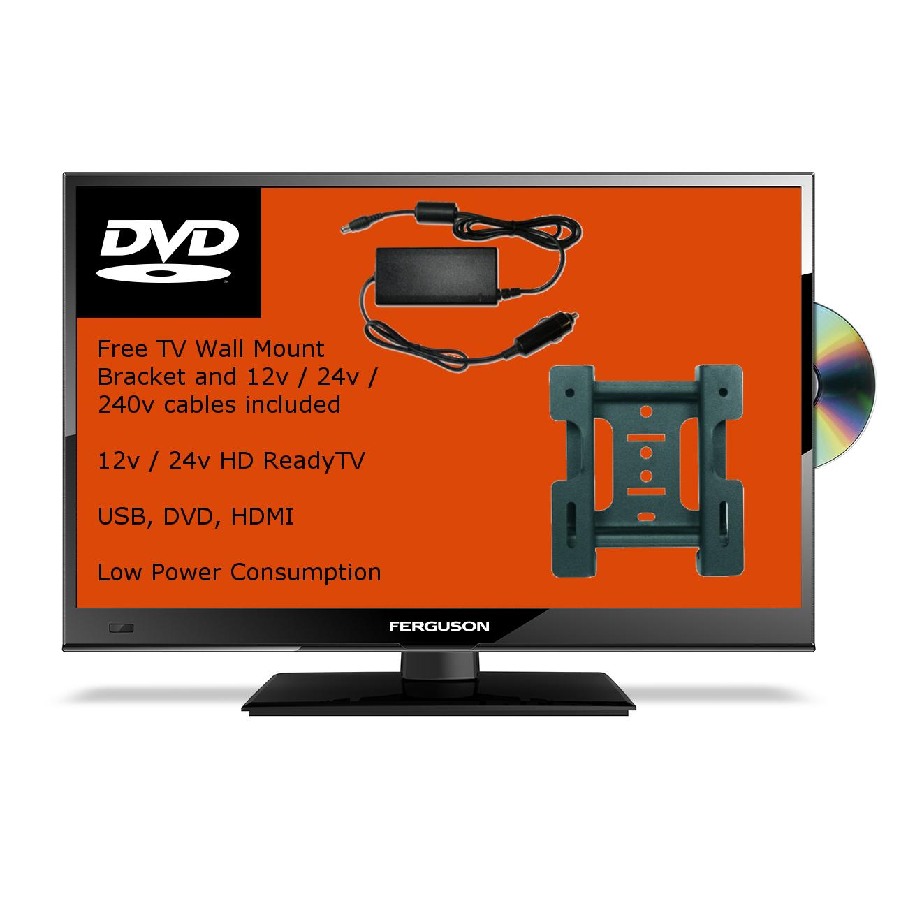 20 inch slim full hd hdmi 12v volt led tv dvd player freeview vesa bracket ebay. Black Bedroom Furniture Sets. Home Design Ideas