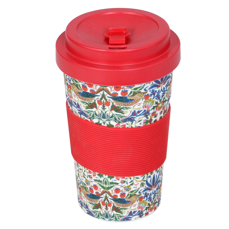 600ml Red Reusable Bamboo Fibre Ecoffee Cups Hot Tea Coffee Mugs Eco Travel Mug