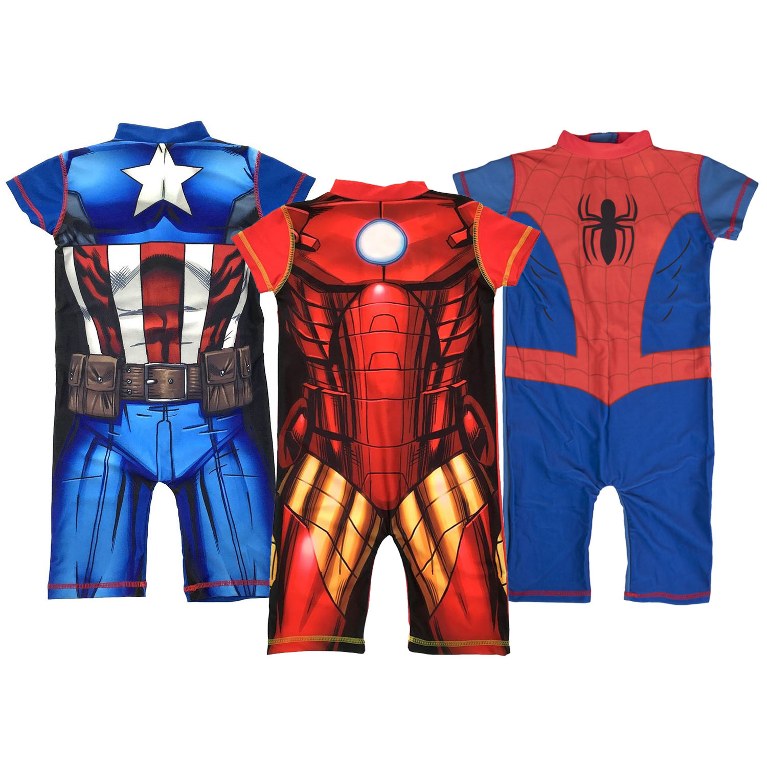 Childrens//Kids Captain America Swimming Costume Surf Suit Boys Swimwear Age 18 Months-5 Years