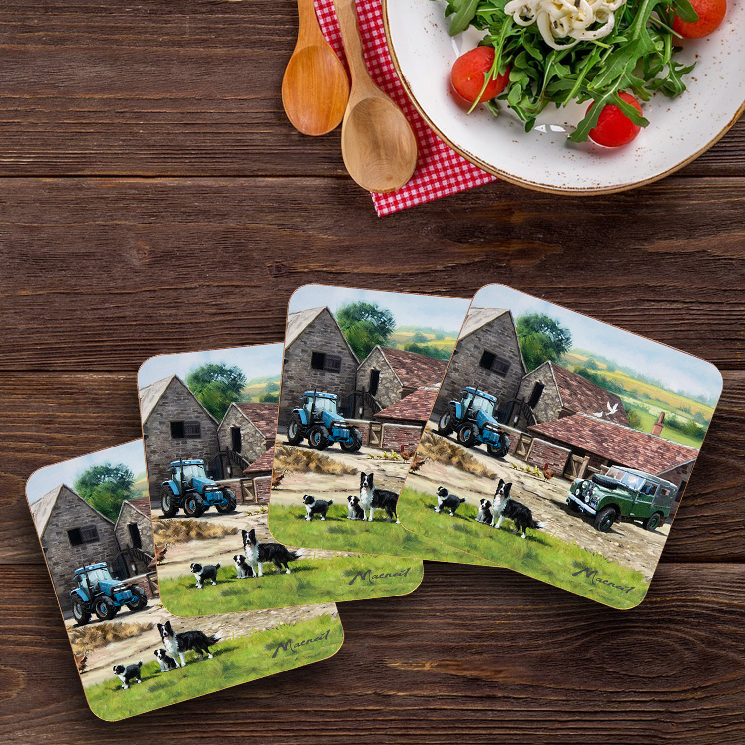 Farmyard Tea Party Dinner Tableware Set Coasters Placemats Laptray Serving Trays