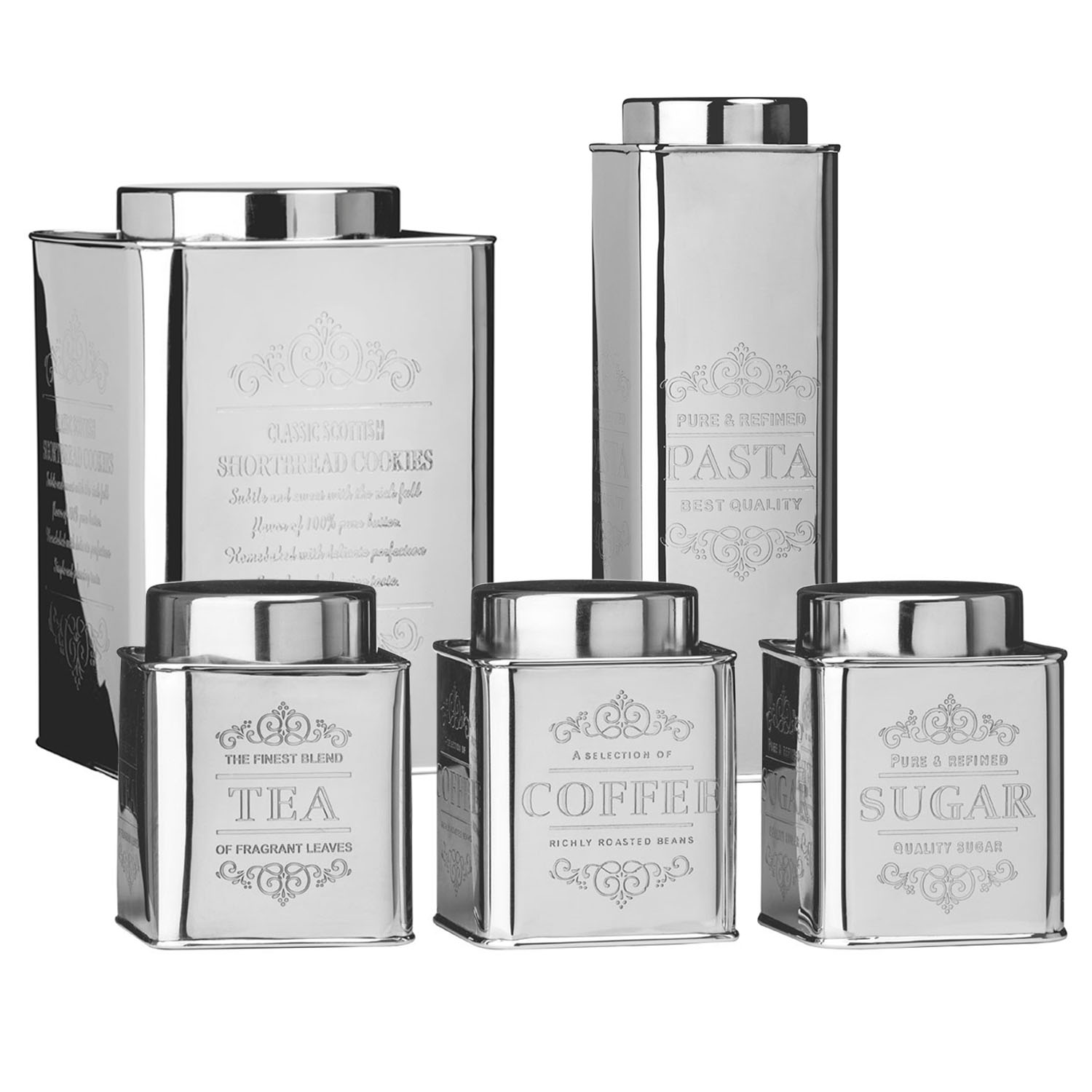 Tea Storage Canister Coffee Sugar Stainless Steel Tin Jar Holder Container