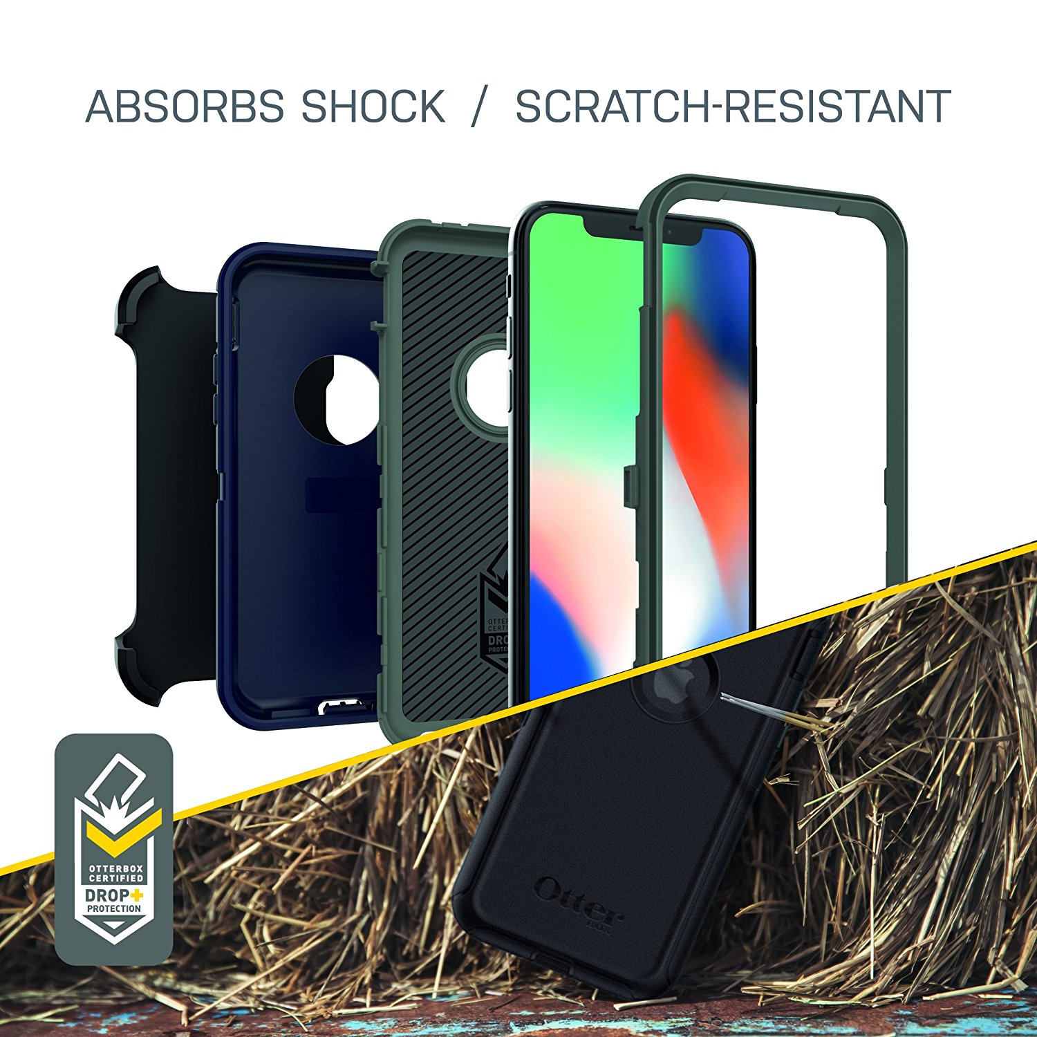 OtterBox-Defender-iPhone-Xs-X-Screenless-Case-Holster-Port-Covers-All-Colours-VS thumbnail 10