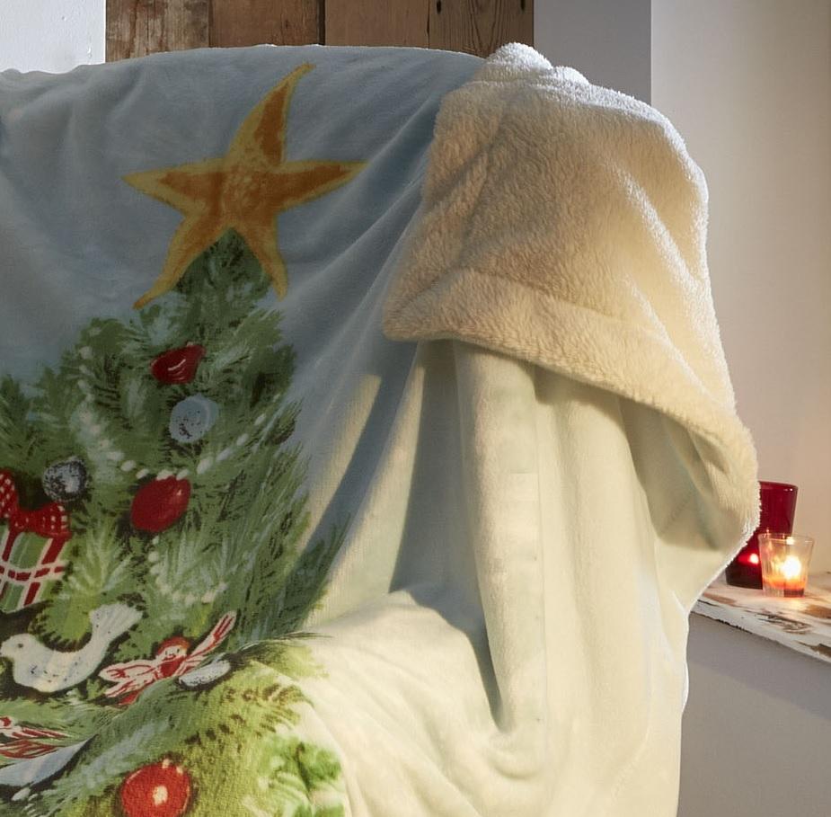 Luxury christmas sherpa fleece throwover throw sofa bed for Sofa bed for xmas