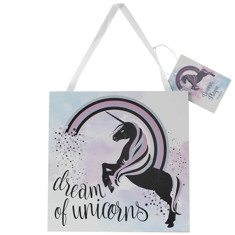 Unicorn Dream Of Unicorns Slogan Design Wall Mountable Wooden Plaque Quote Sign