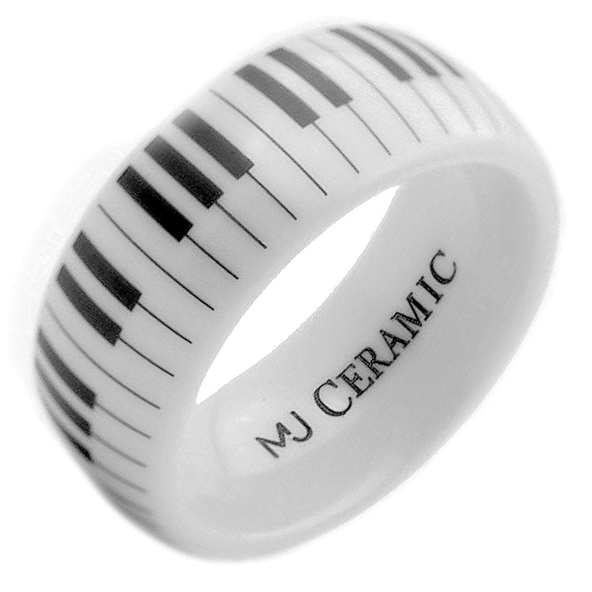 Ceramic Piano Keyboard 4 6 8 Or 10mm White Wedding Band