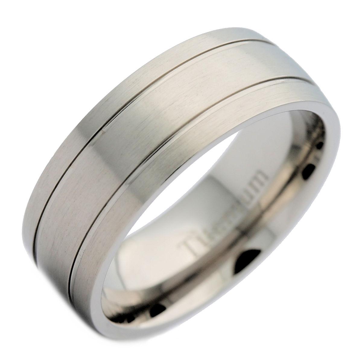 Bridal Titanium Polished Grooved Comfort Back Ring
