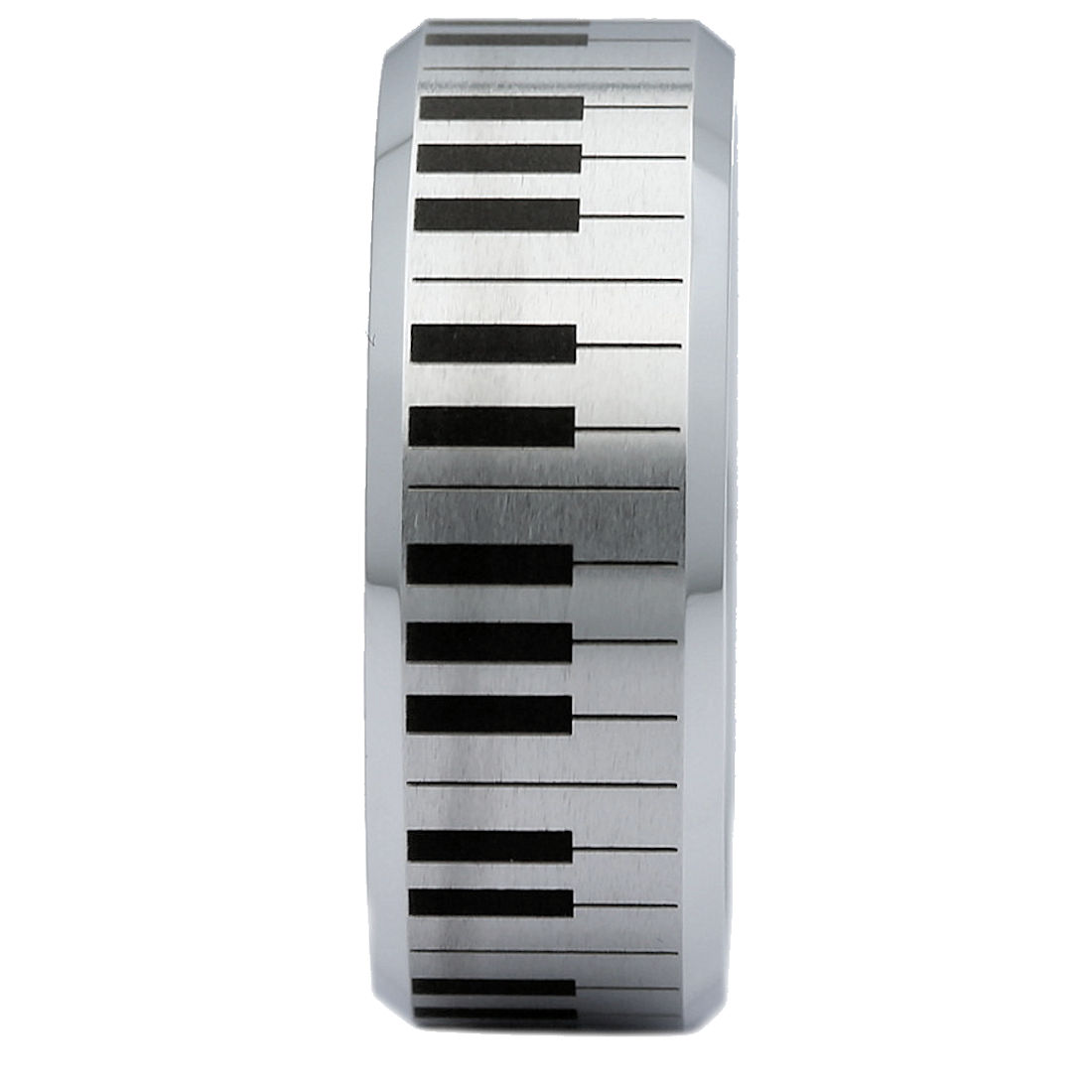 6mm-Brushed-White-Tungsten-Carbide-Piano-Keyboard-Polished-Edges-Ring-Size-10 thumbnail 16