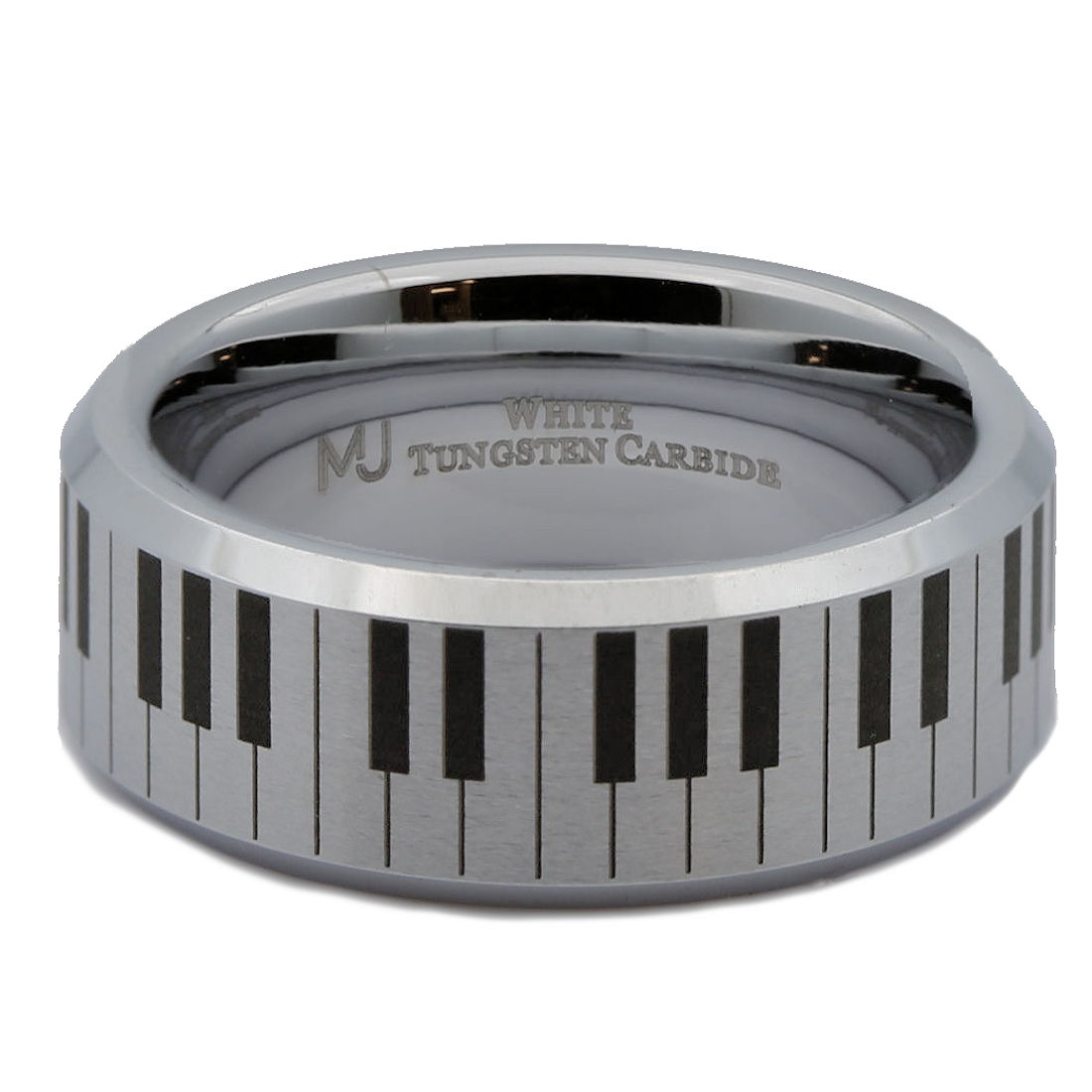 6mm-Brushed-White-Tungsten-Carbide-Piano-Keyboard-Polished-Edges-Ring-Size-10 thumbnail 17