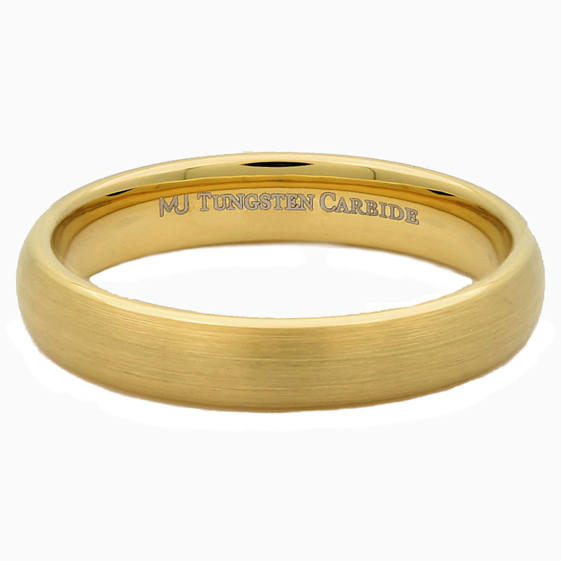 4mm-or-6mm-Gold-Plated-Brushed-Tungsten-Carbide-Wedding-Ring-Half-Dome-Band thumbnail 8