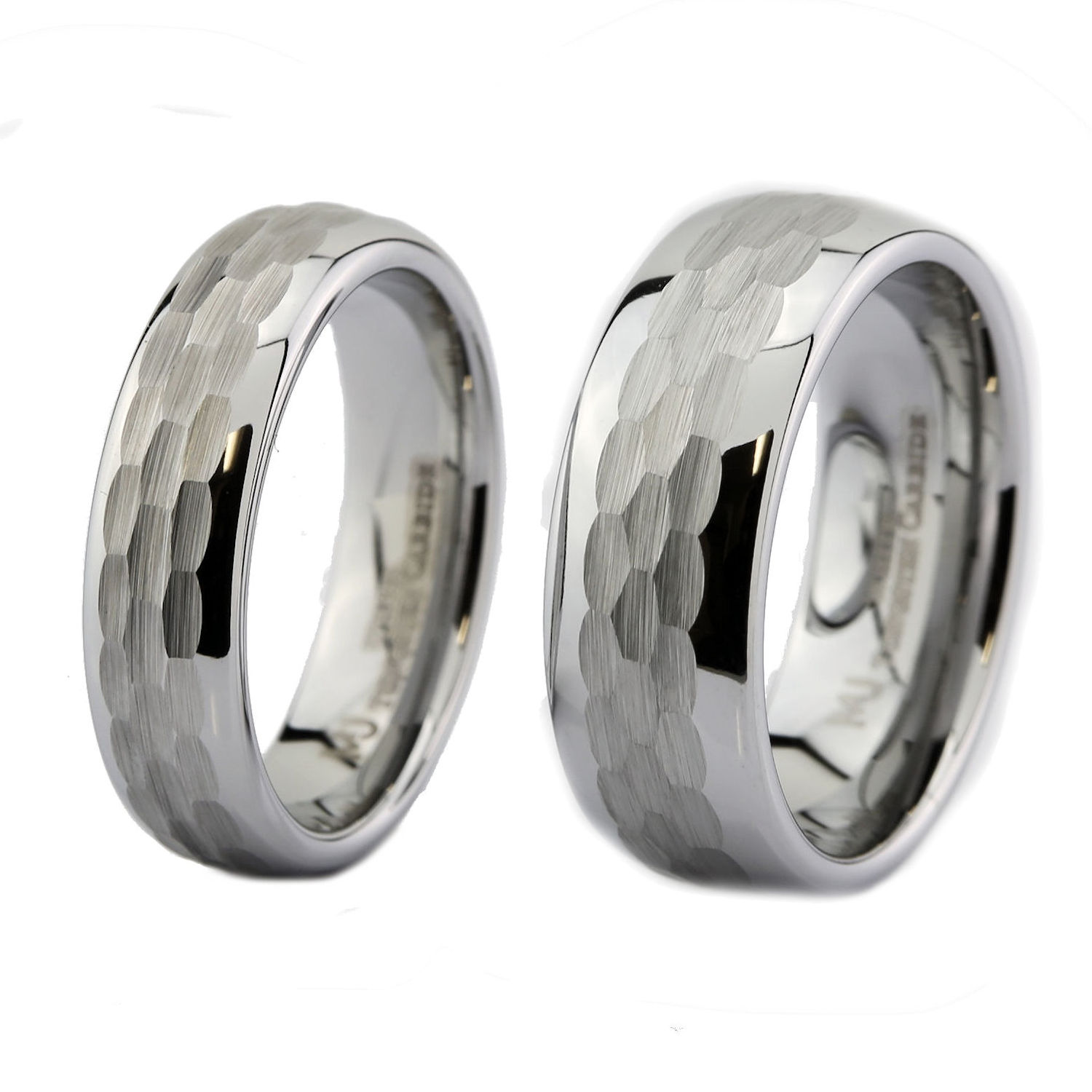 White-Tungsten-Carbide-Hammered-Center-6mm-or-8mm-Wedding-Band-Ring thumbnail 8