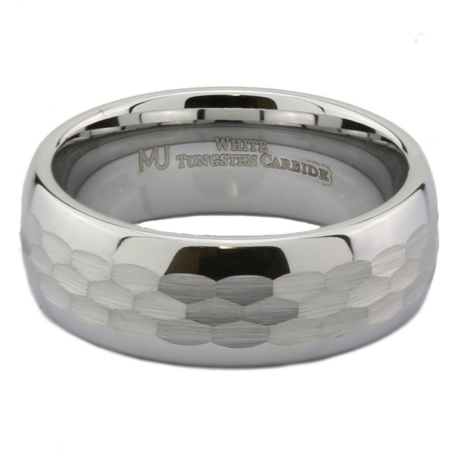 White-Tungsten-Carbide-Hammered-Center-6mm-or-8mm-Wedding-Band-Ring thumbnail 12