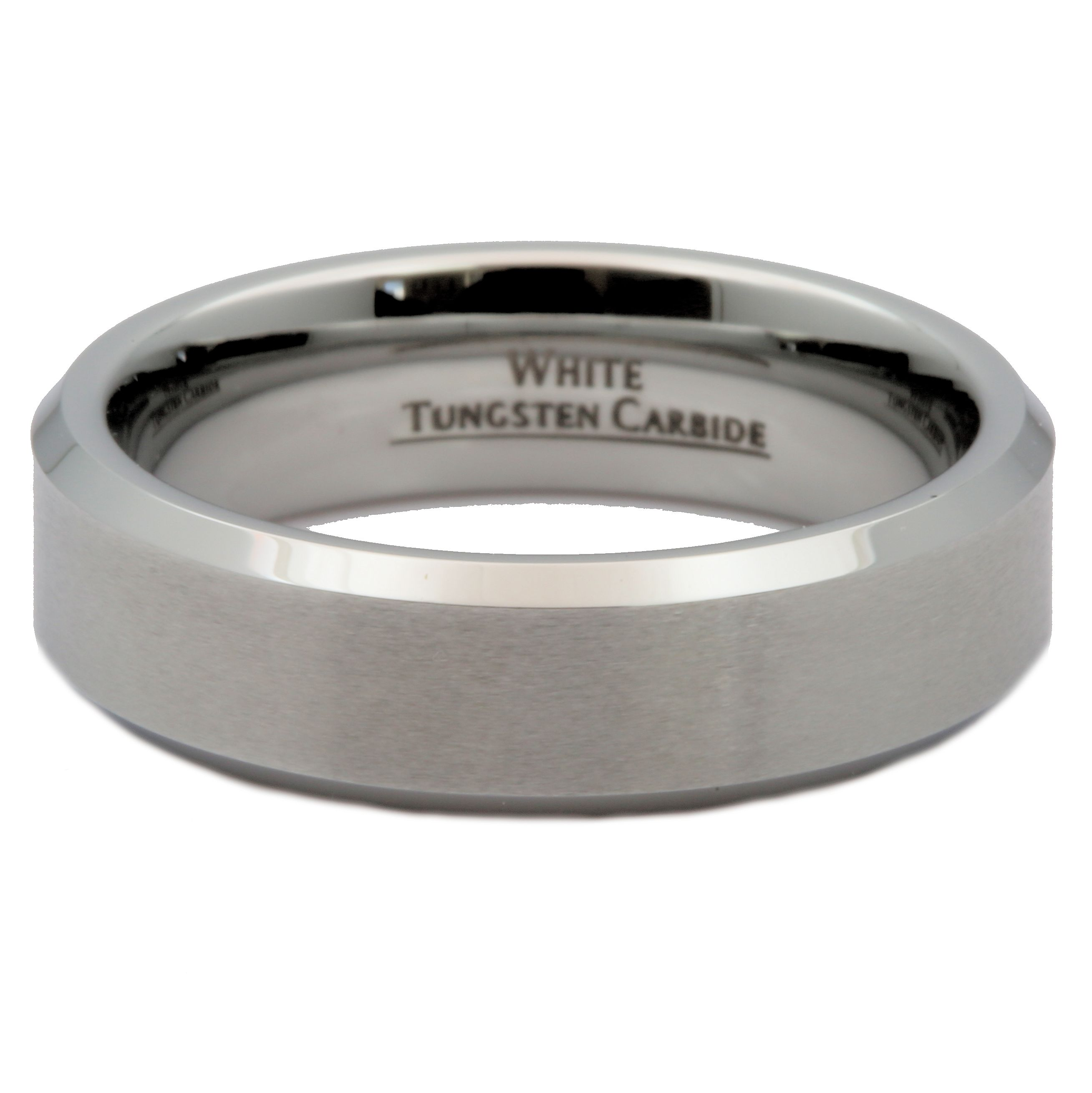 6mm-Brushed-White-Tungsten-Carbide-Wedding-Band-Polished-Edges-Ring thumbnail 9