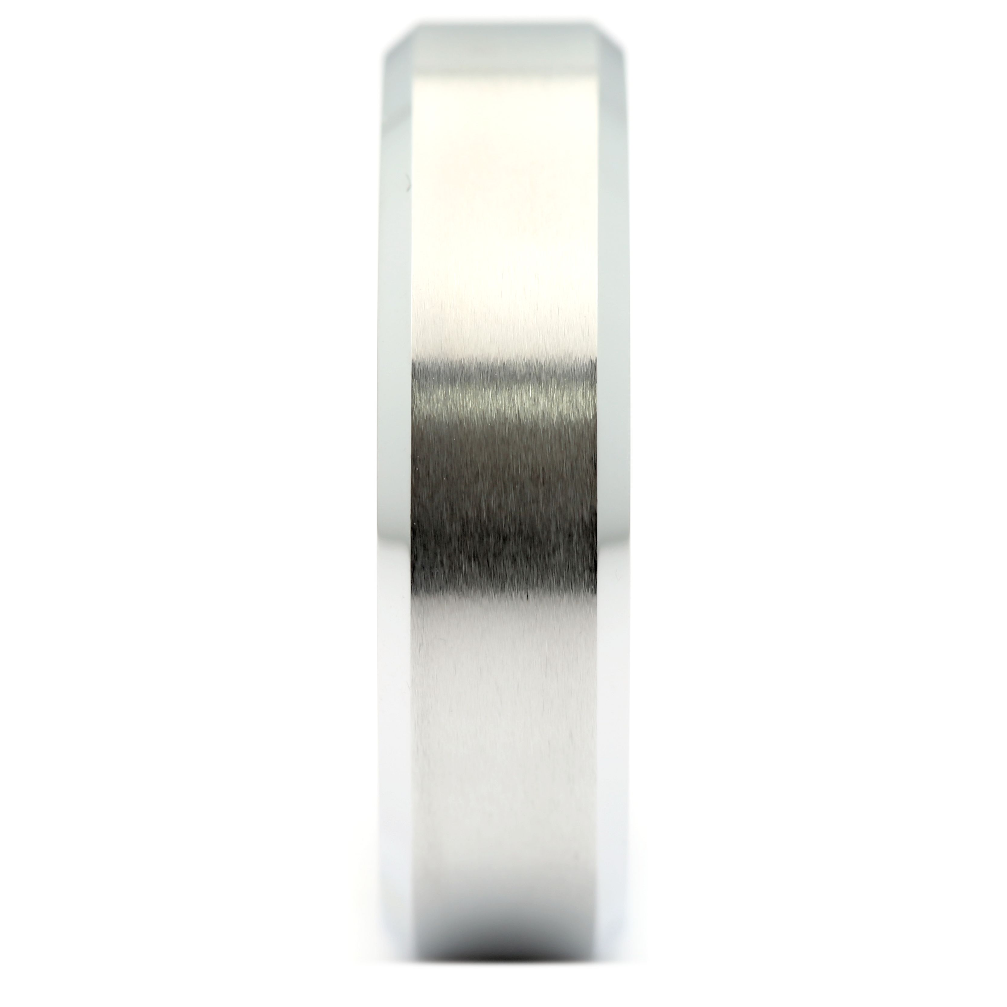 6mm-Brushed-White-Tungsten-Carbide-Wedding-Band-Polished-Edges-Ring thumbnail 10