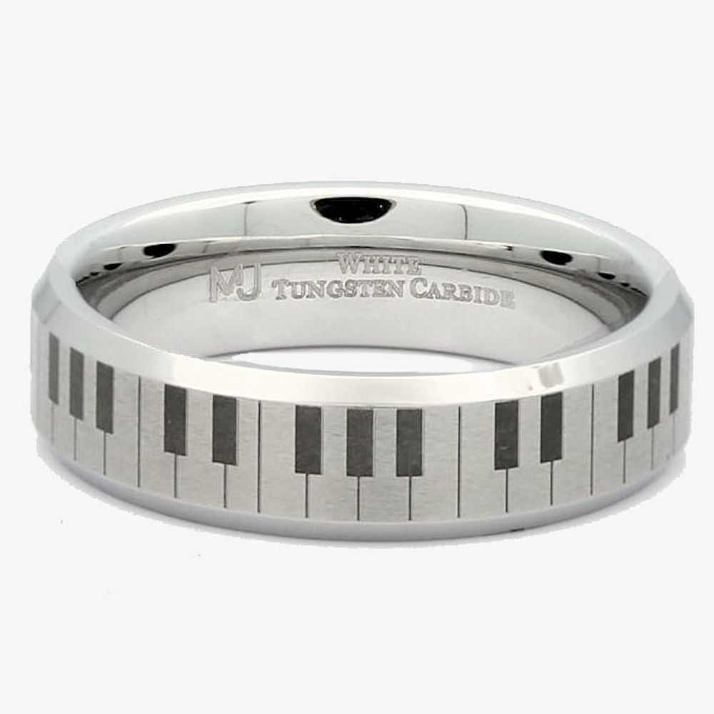 6mm-Brushed-White-Tungsten-Carbide-Piano-Keyboard-Polished-Edges-Ring-Size-10 thumbnail 10