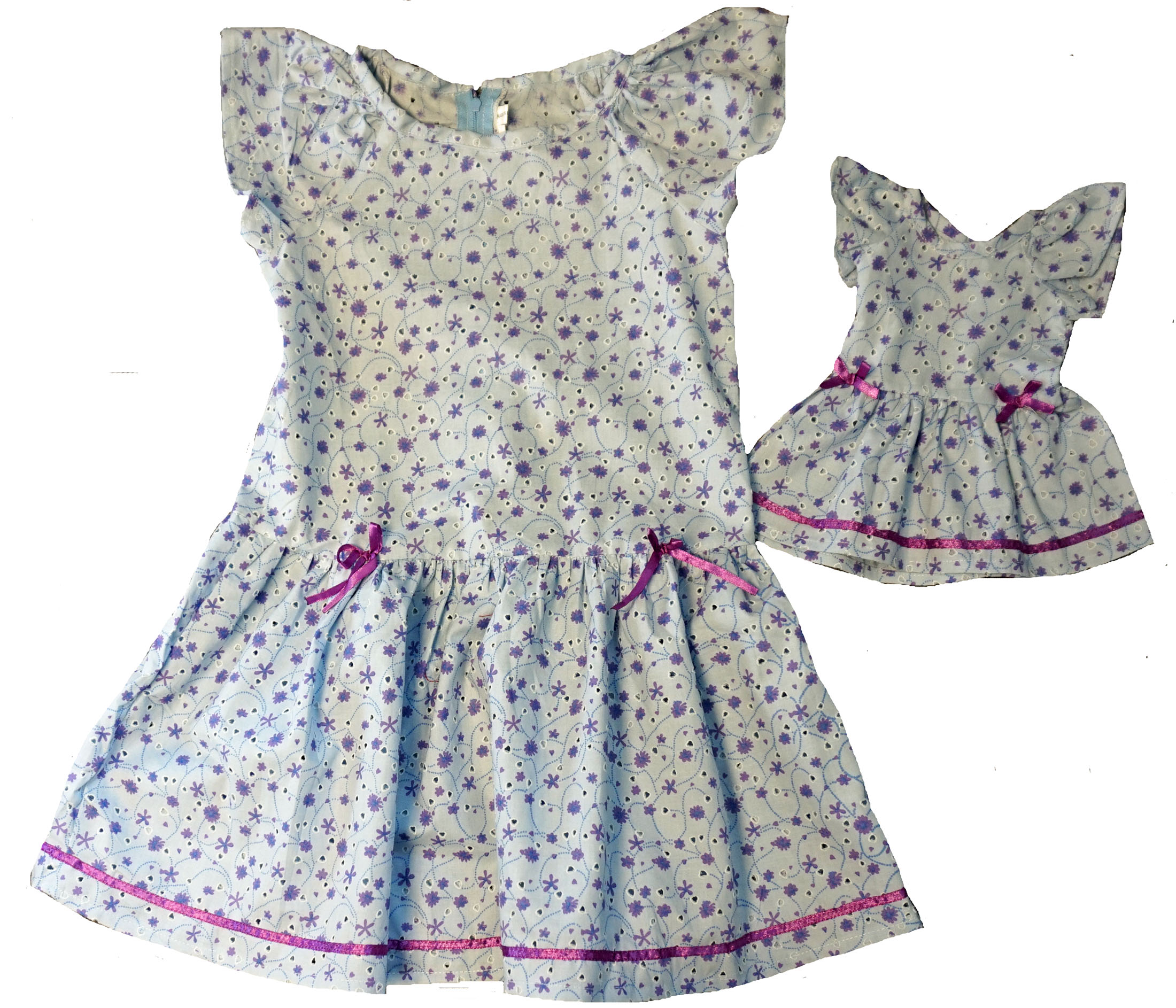 674477dfdfd Size 7 Blue Eyelet Matching Girl And Doll Dress
