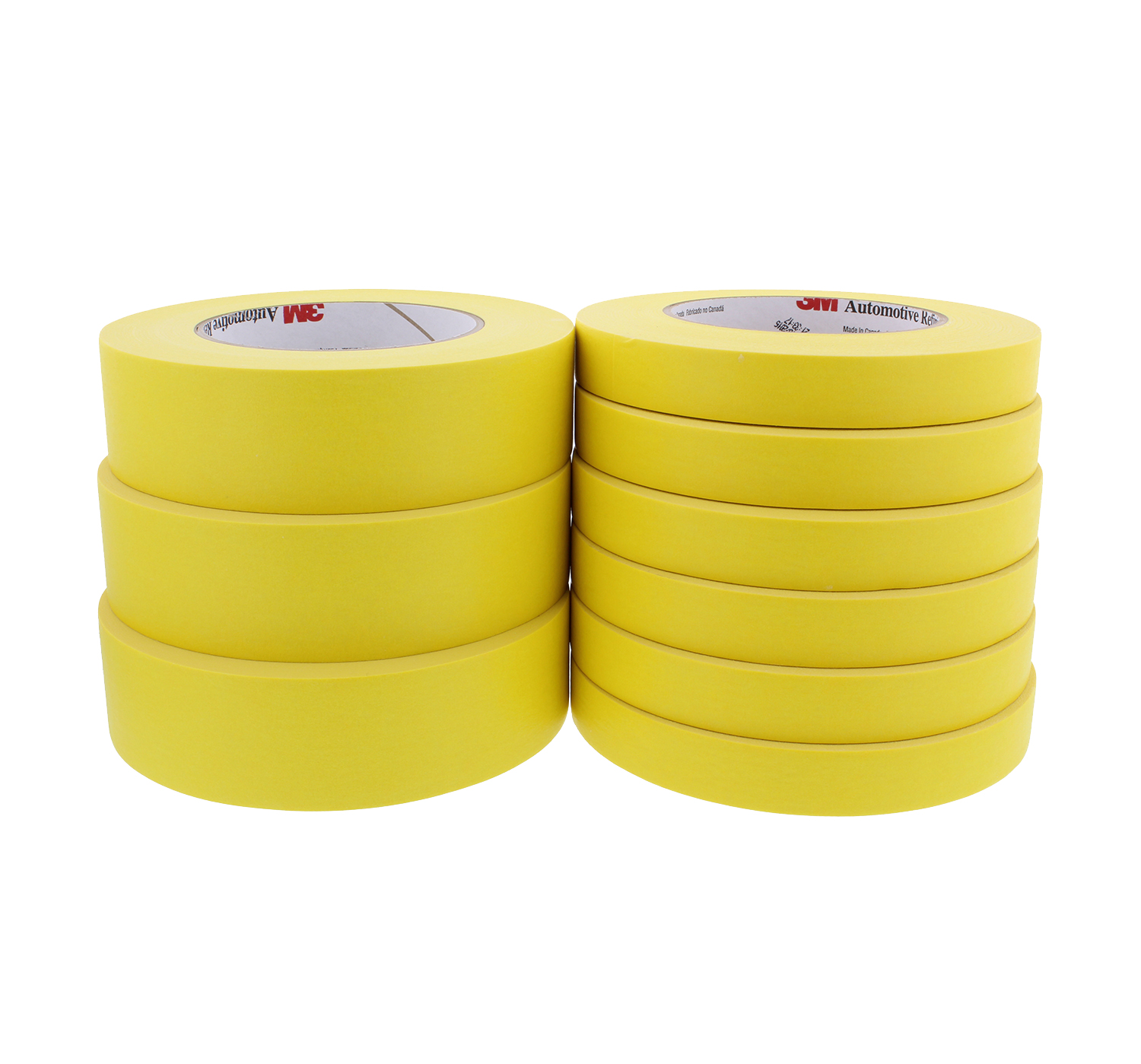 """3 Rolls of 3M 06652 3//4/"""" Yellow Tape And 3 Rolls of 06654 1 1//2/"""" Tape Bundle"""