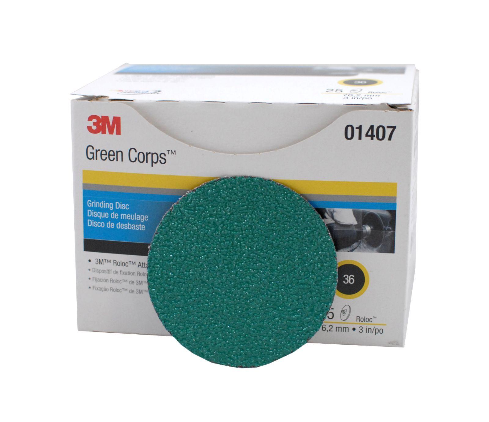 3m 01407 3 Inch Green Corps Roloc Sanding Discs 36 Grit
