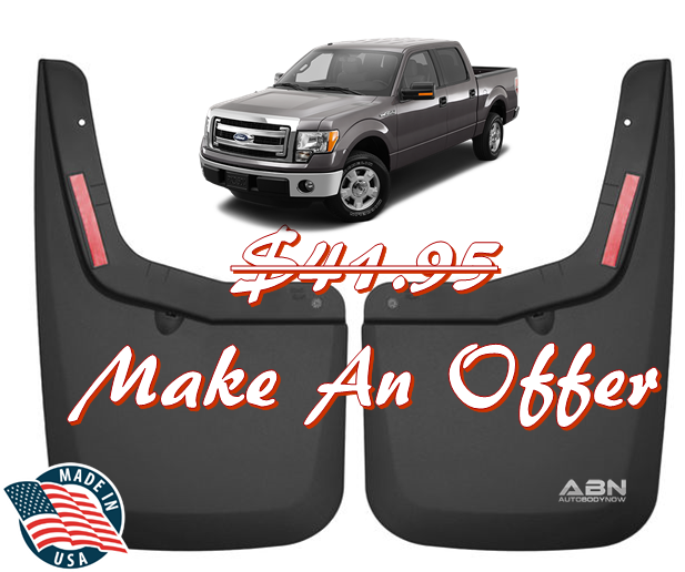 husky black front mud guards 2015-2018 ford f-150 models w/ oe