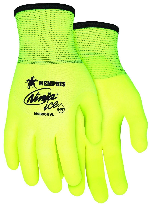 MCR Safety N9690HVXXL Ninja Ice Hi Vis 15 Gauge Lime Nylon Gloves, XX Large