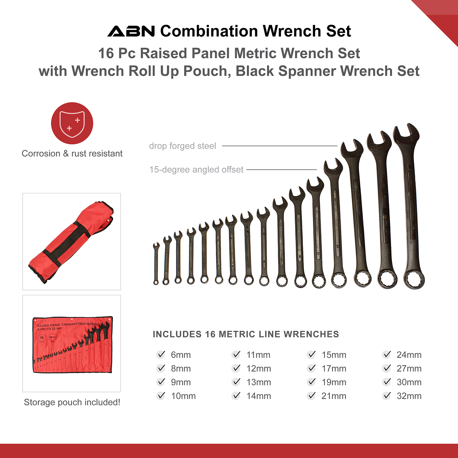 ABN-Combination-Wrench-Set-16-Pc-Raised-Panel-Jumbo-Wrench-Set-Black miniature 9