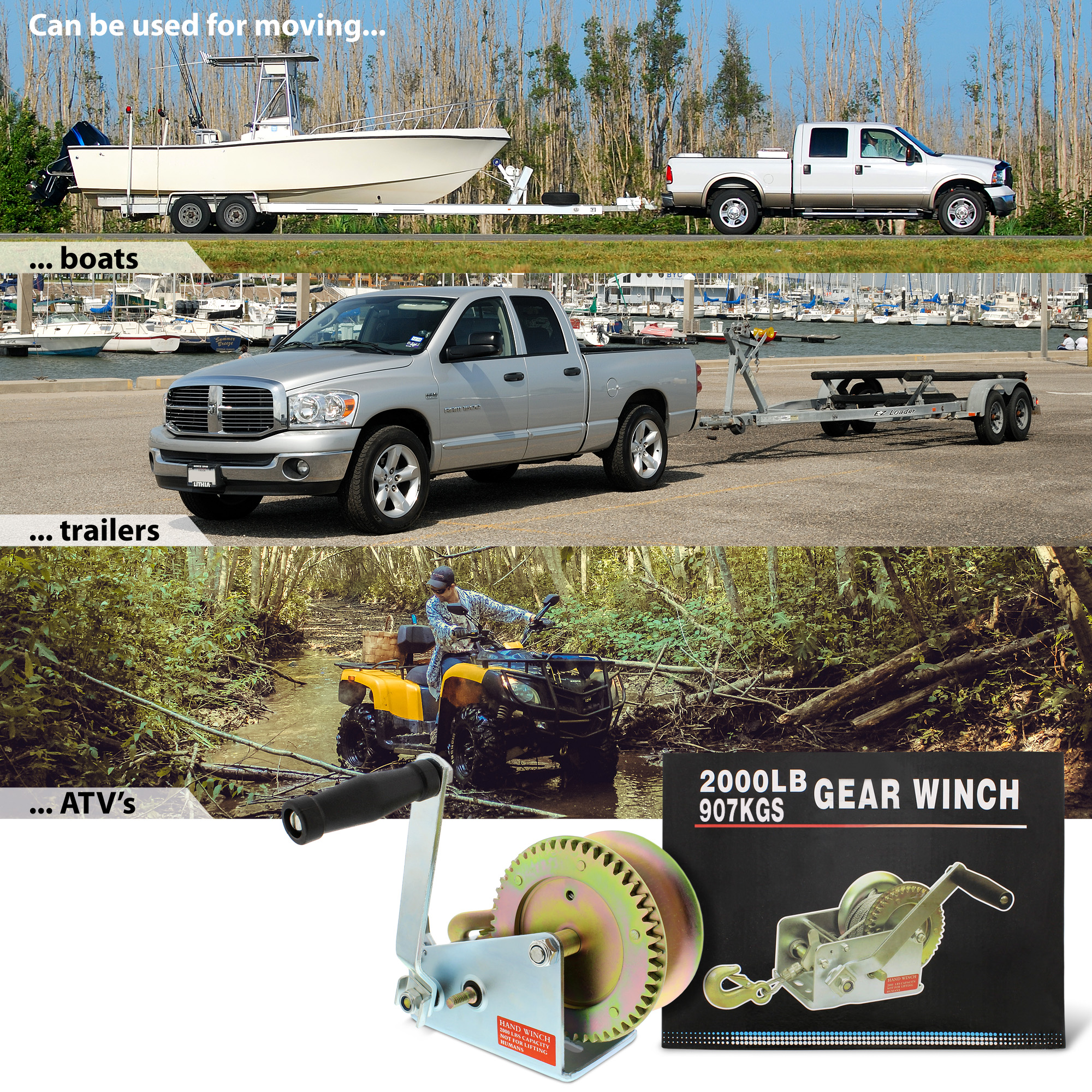Single-Speed up to 600 lb for Trailer ABN Hand Crank Gear Winch Boat or ATV