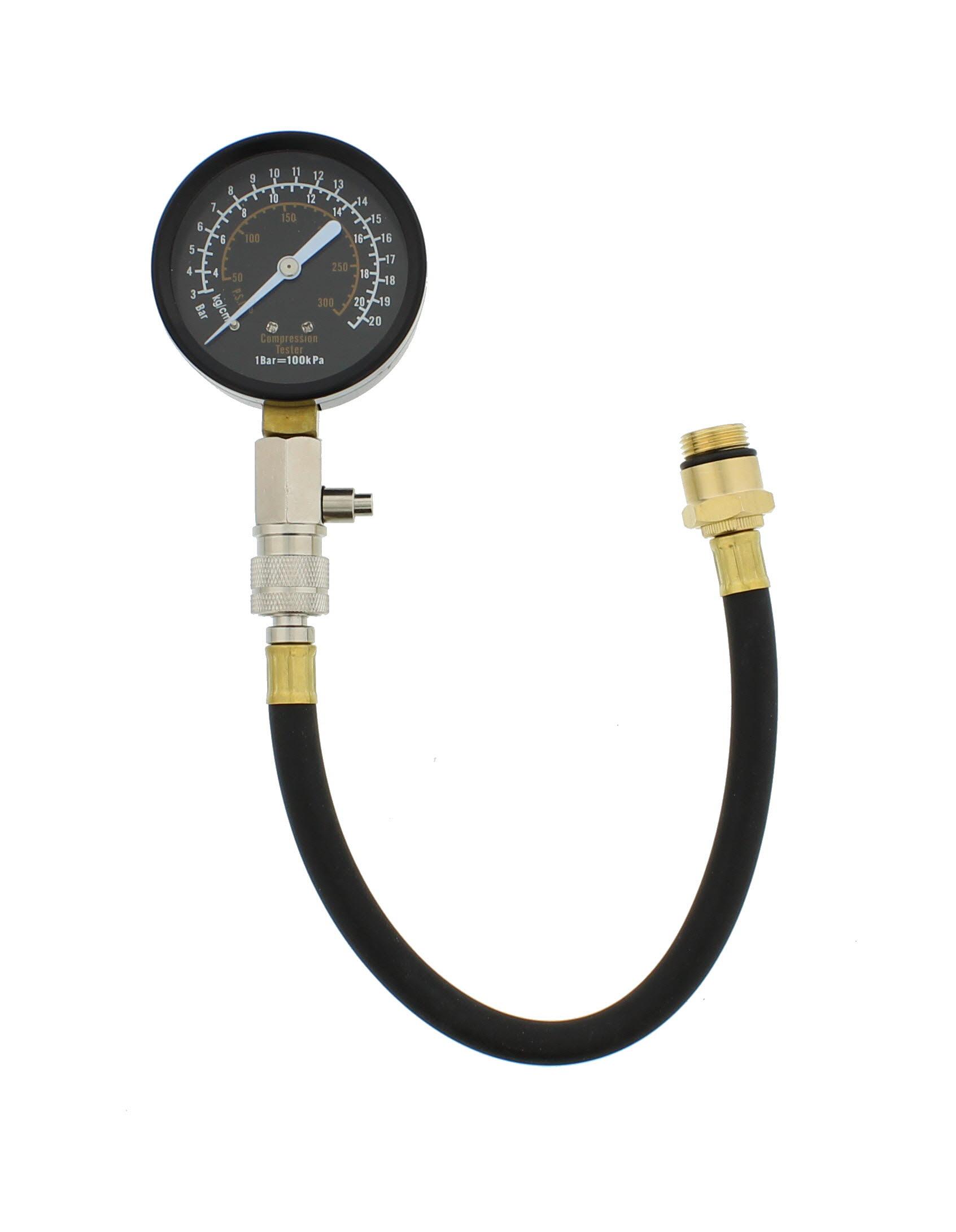 "Automotive Compression Tester 2 Adapters 2-1//2/"" Diameter Gauge Gas Engine Tester"