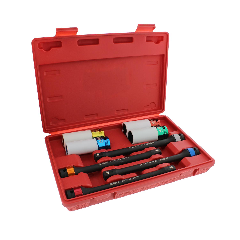 "ABN 1//2"" Inch Dr 8"" Torque Socket Extension Bar 10pc Tool Kit 65-150ft//lb Set"