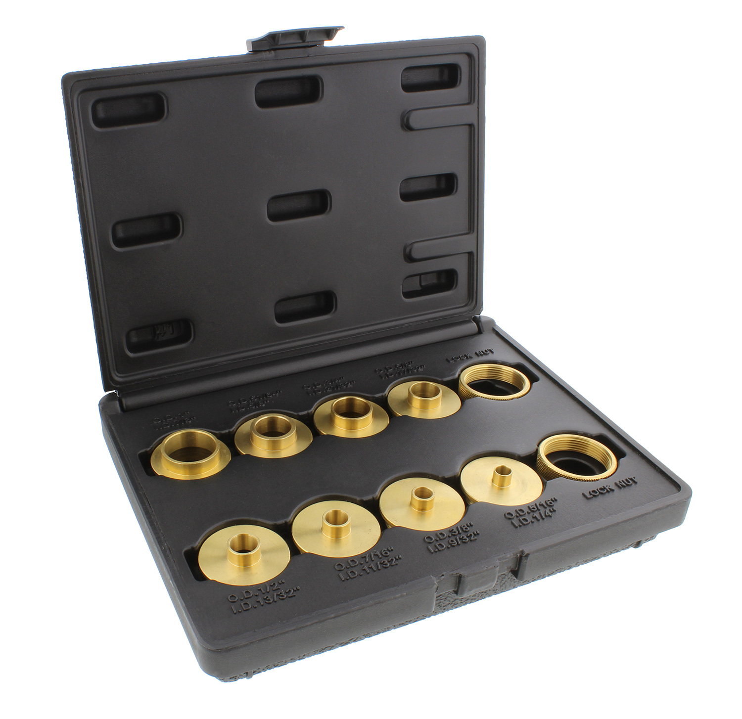 Brass Router Bushing Set with Case - homedepot.com