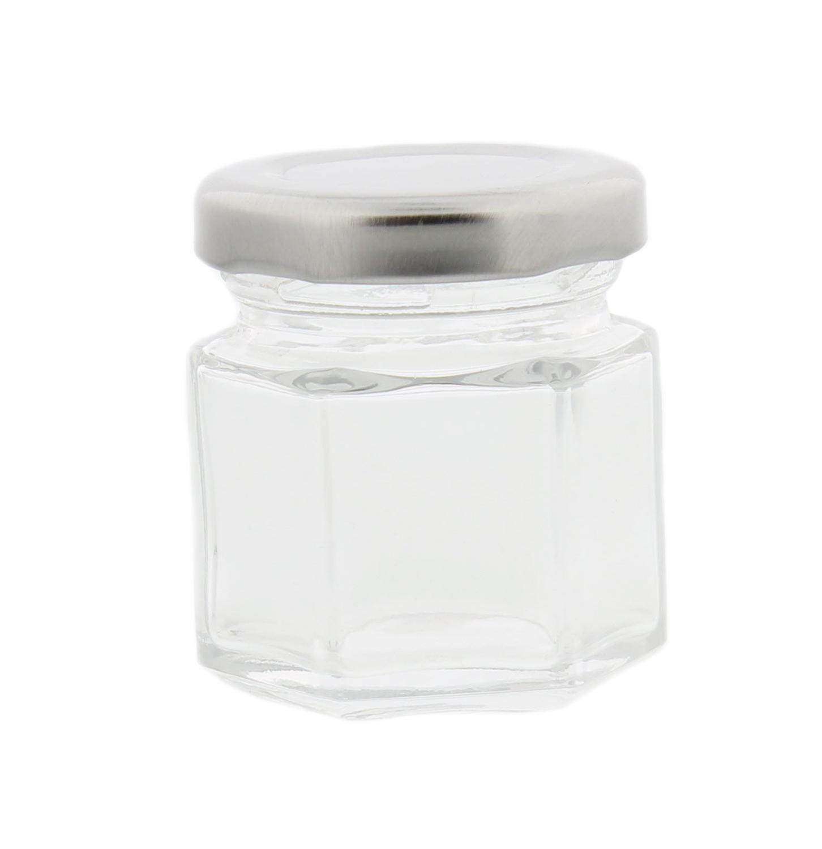 7penn hexagonal mini glass jar 1 5 ounce with lid labels. Black Bedroom Furniture Sets. Home Design Ideas