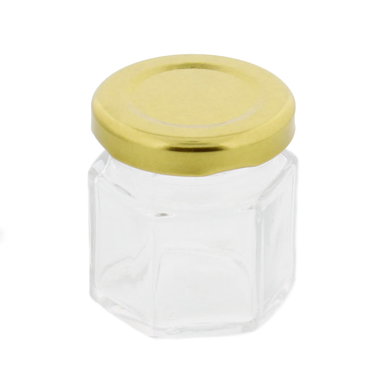 7penn hexagonal mini glass jar 1 5 ounce with lid labels 24 pack ebay. Black Bedroom Furniture Sets. Home Design Ideas