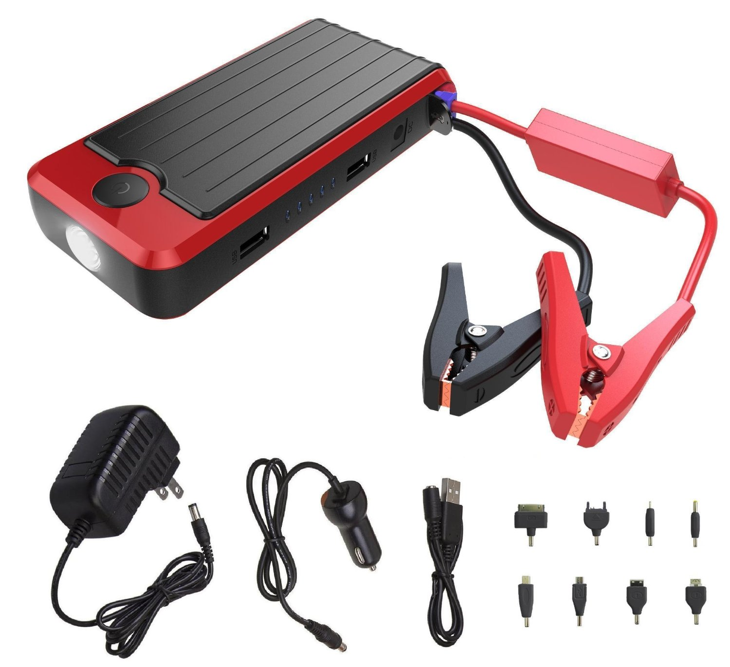 Powerall Pbjs12000r Rosso Red Black Portable Power Bank And Car Jump