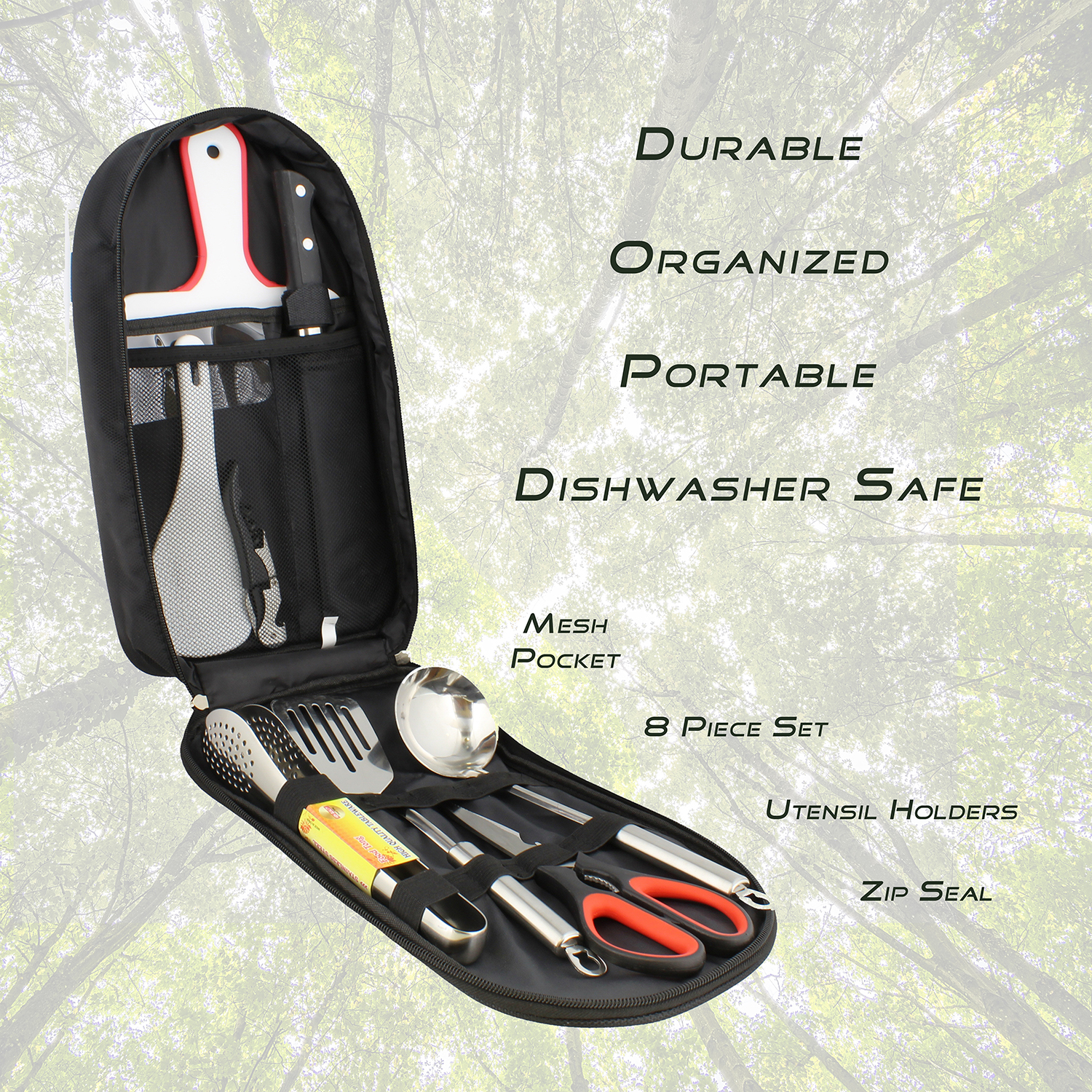 Camping-Utensil-Outdoor-Cooking-Accessories-8pc-Set-Travel-Cookware-in-Bag thumbnail 14